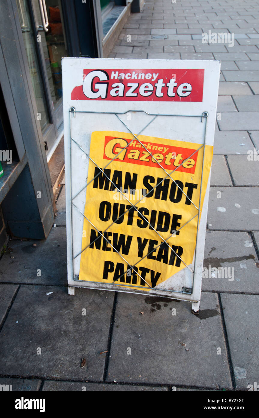 placard for hackney gazette saying man shot outside new year party