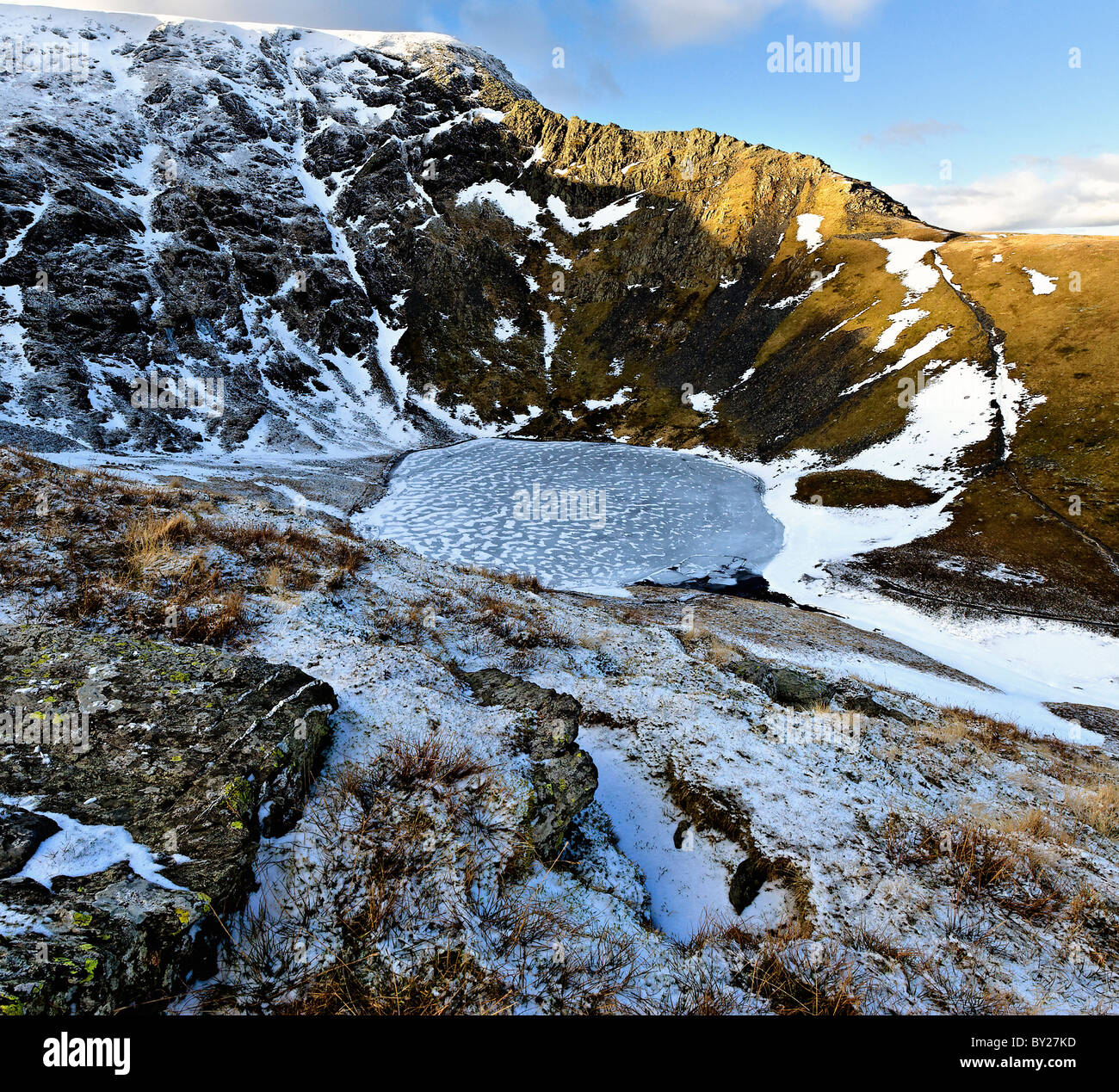Sharp Edge and Scales Tarn on Blencathra - Stock Image