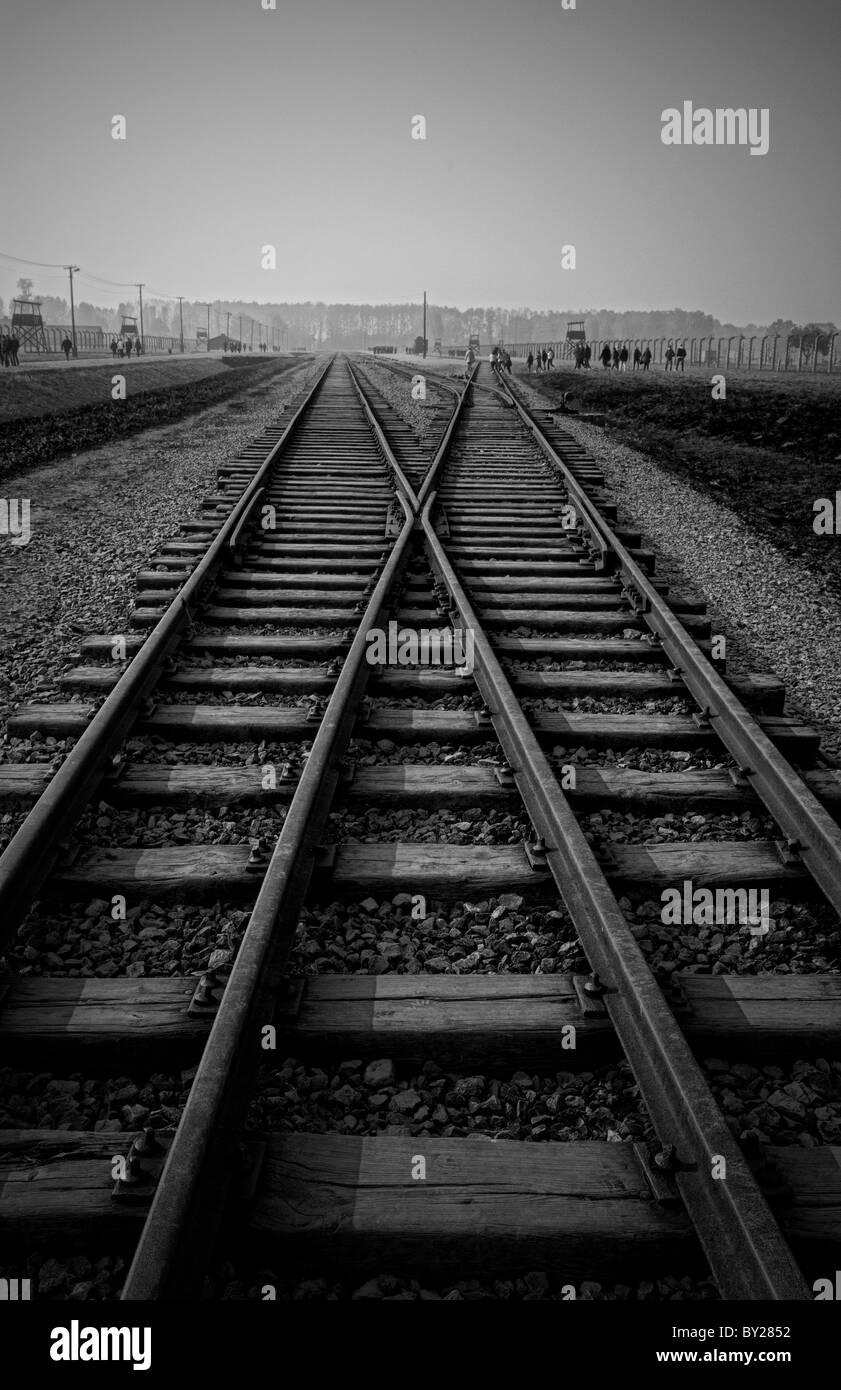 Birkenau Exterminating Camp tracks last train ride for prisoners Auschwitz Oswiecim Poland - Stock Image