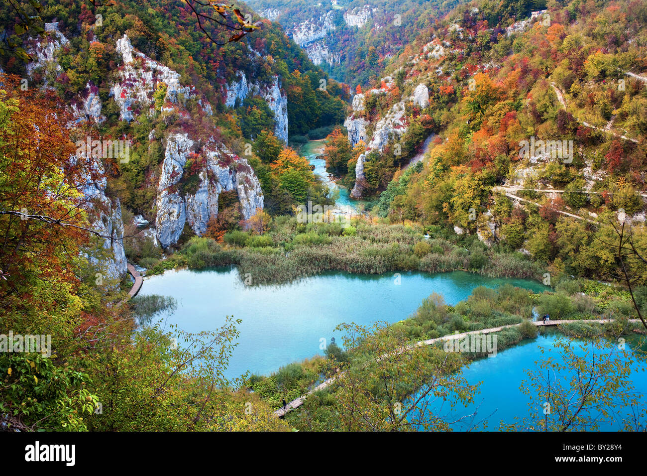 Scenic fall valley landscape in the mountains of Plitvice Lakes National Park, Croatia - Stock Image