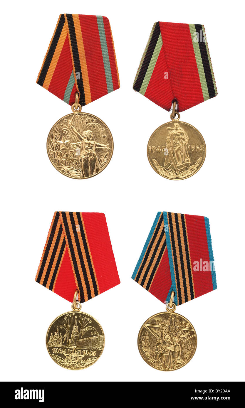Soviet military commemorative medals, isolated on white background - Stock Image