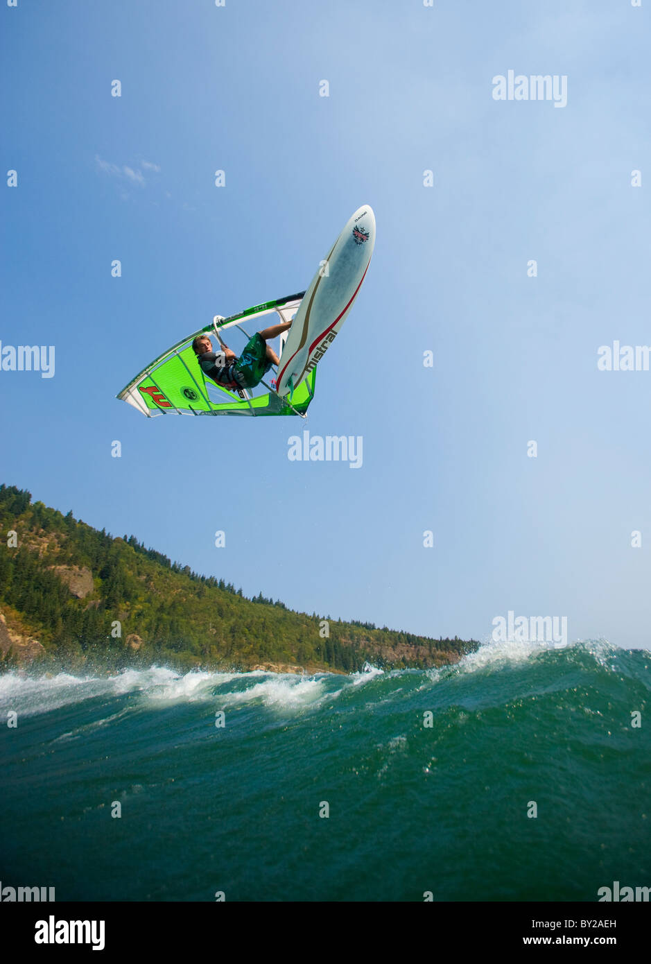 Windsurfer airs it out at the Spring Creek Fish Hatchery, WA. - Stock Image