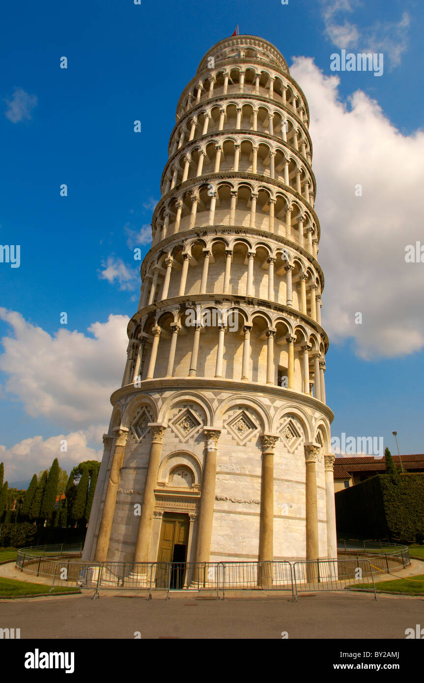 Leaning Tower of Pisa - A UNESCO World Heritage Site, Piazza del Miracoli , Pisa, Italy - Stock Image