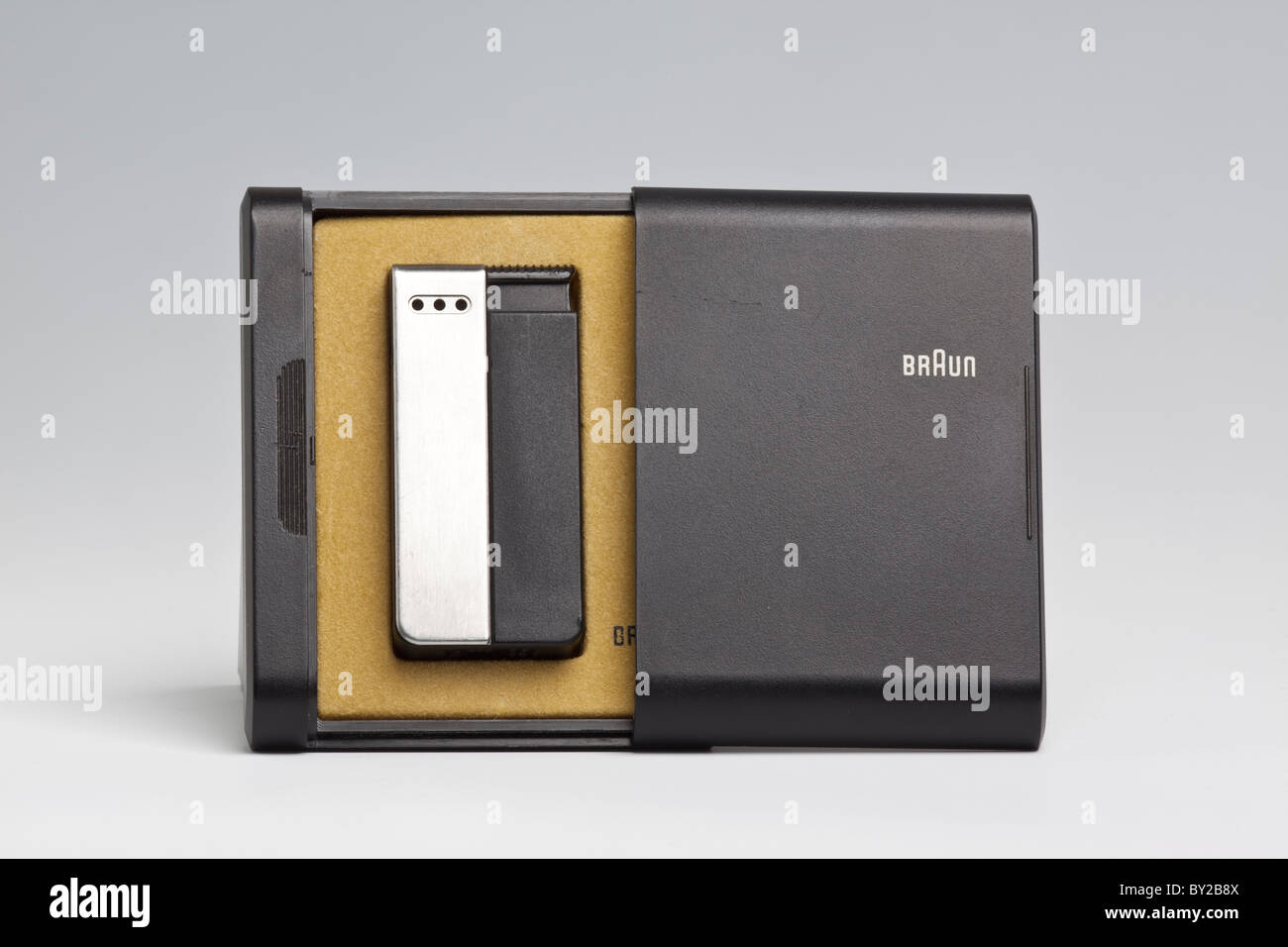 Duo pocket lighter, made by Braun, designed by Busse Design Ulm, 1977 - Stock Image