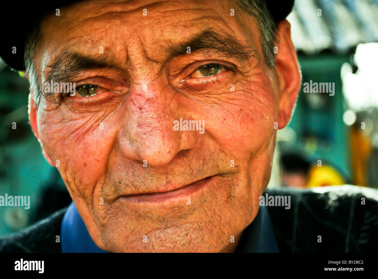 Old man with teary eyes - Stock Image