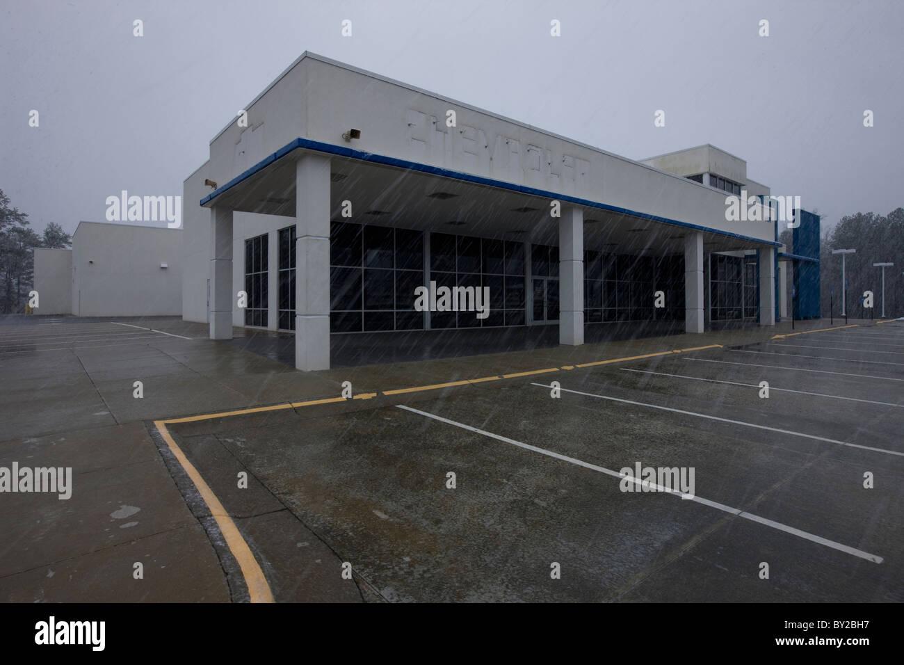 Bankrupt Chevrolet Car Dealership, Stone Mountain, Georgia - Stock Image