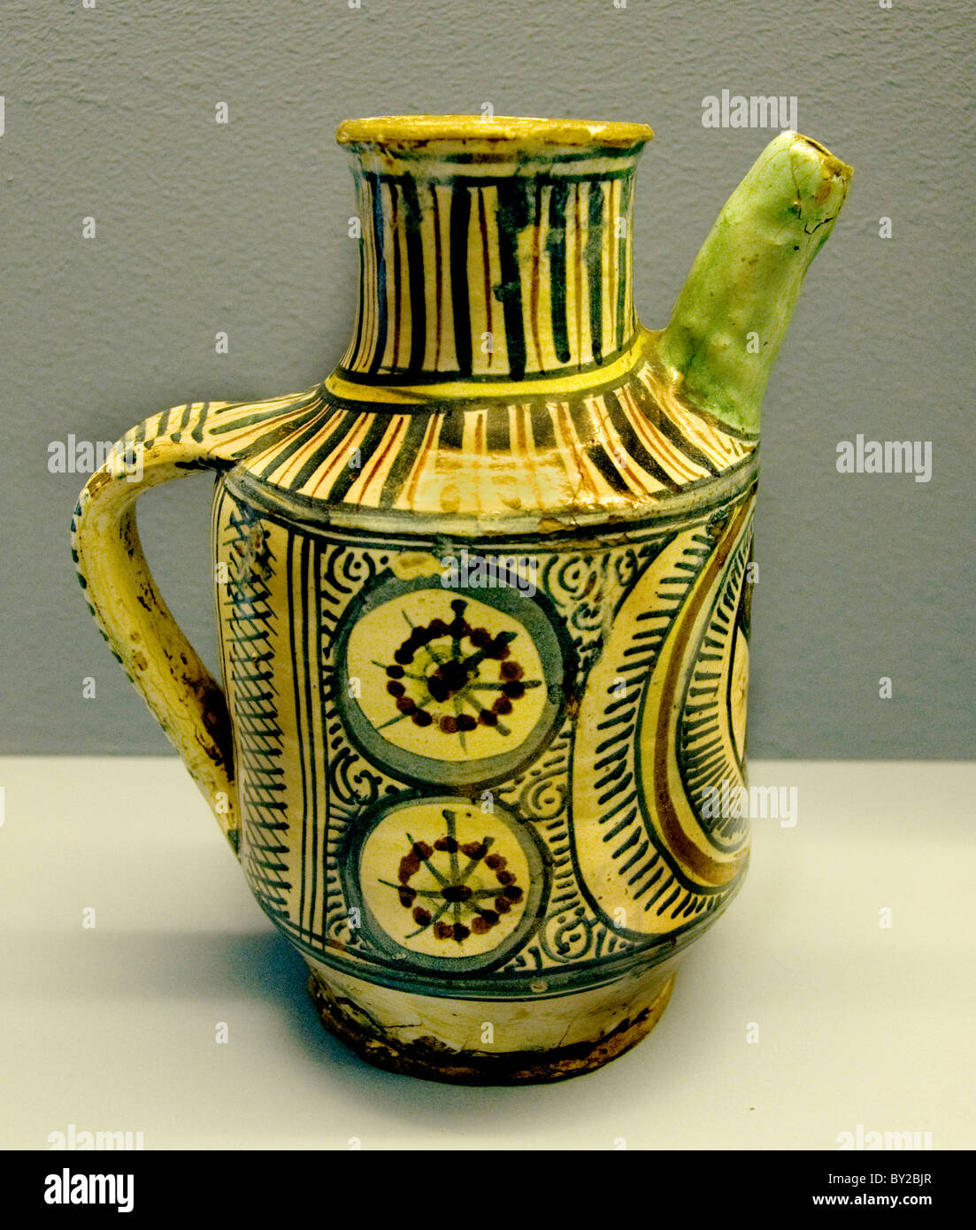 Sirup Jug 1450 Florence Tuscany Italy Italian Majolica ceramic Middle Ages Medieval - Stock Image