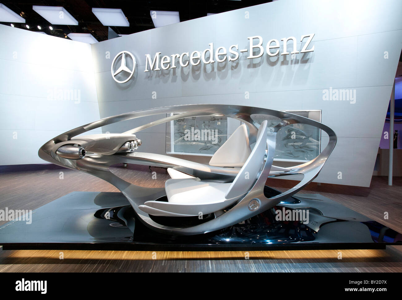 Detroit, Michigan - Mercedes-Benz Aesthetics No. 2 sculpture on display at the North American International Auto - Stock Image