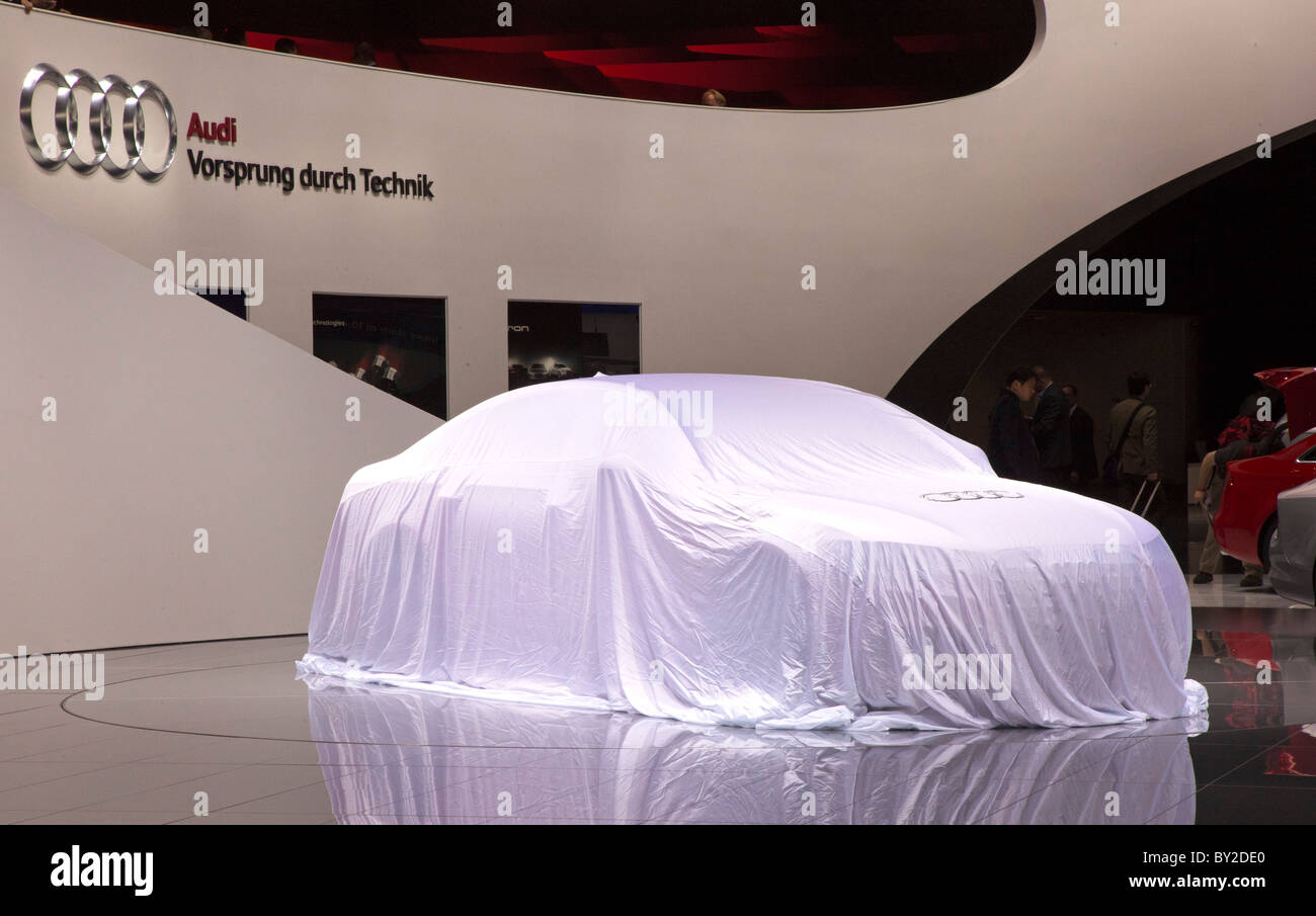 Detroit, Michigan - An Audi ready for unveiling at the North American International Auto Show. - Stock Image