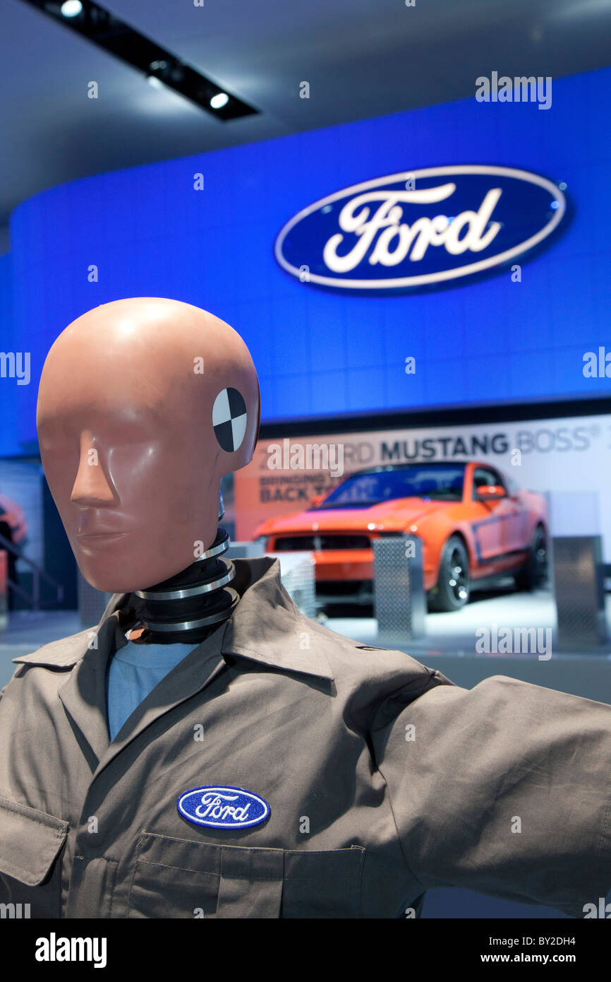 Detroit, Michigan - A Ford crash test dummy on display at the North American International Auto Show. - Stock Image