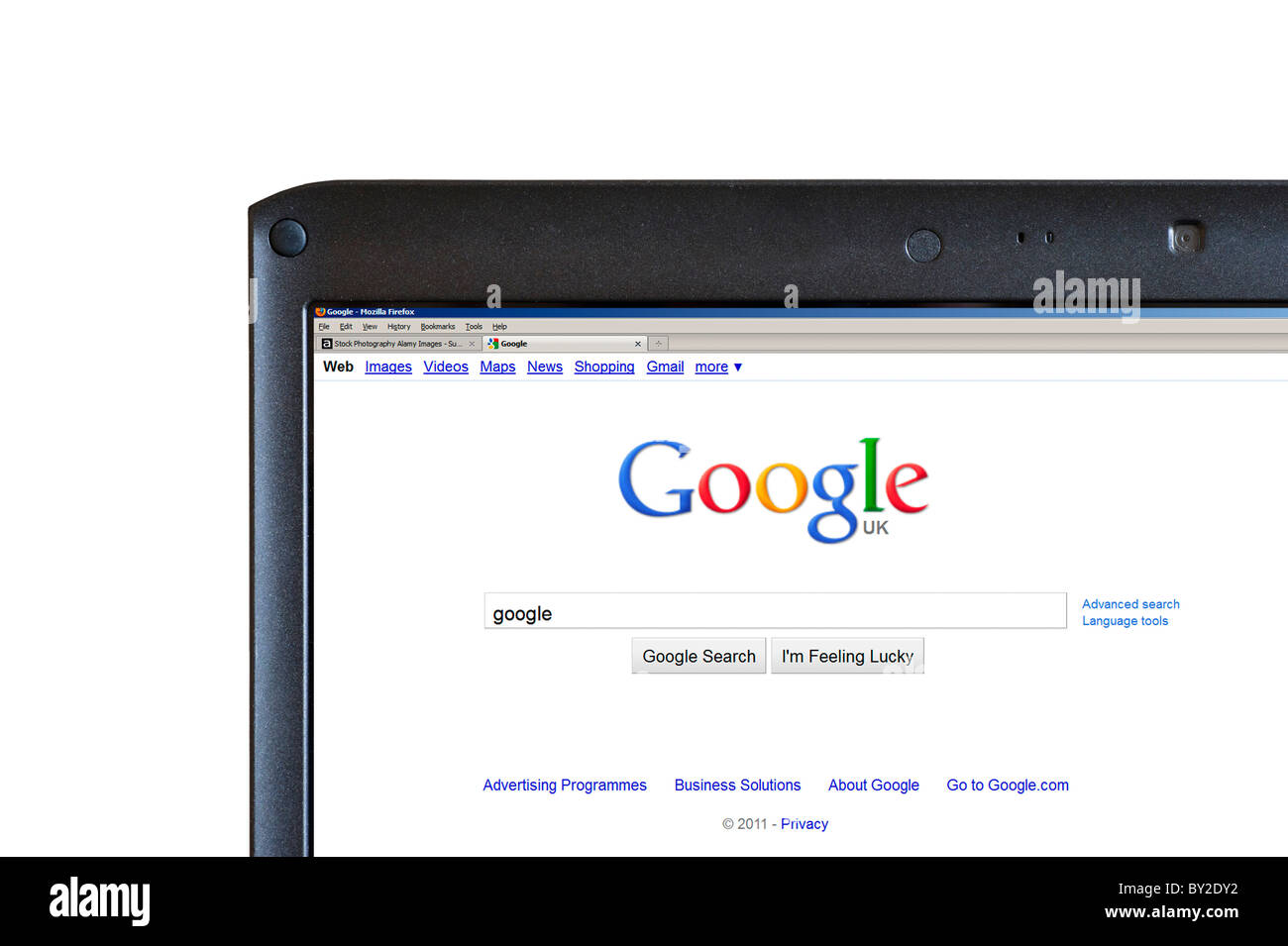 Performing a google search, UK - Stock Image