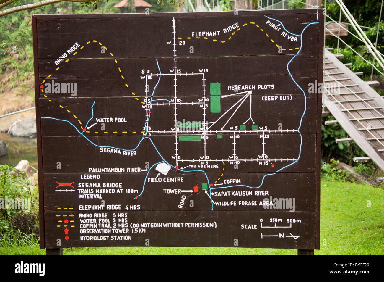 Danum Valley Field Centre Area Map By The Bridge Over Segama River Stock Photo Alamy