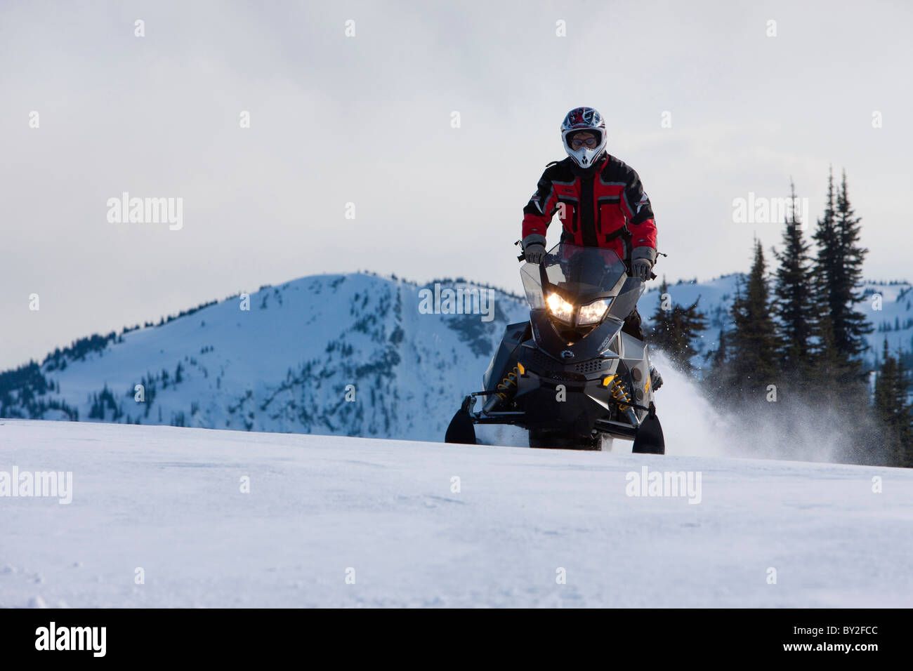 A man rides a snowmobile in a standing position through the snow on Owlshead Mountain. - Stock Image