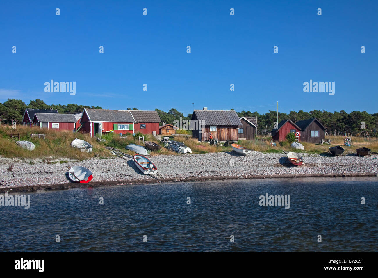 Fishing boats at the village Nyhamn, Gotland, Sweden - Stock Image