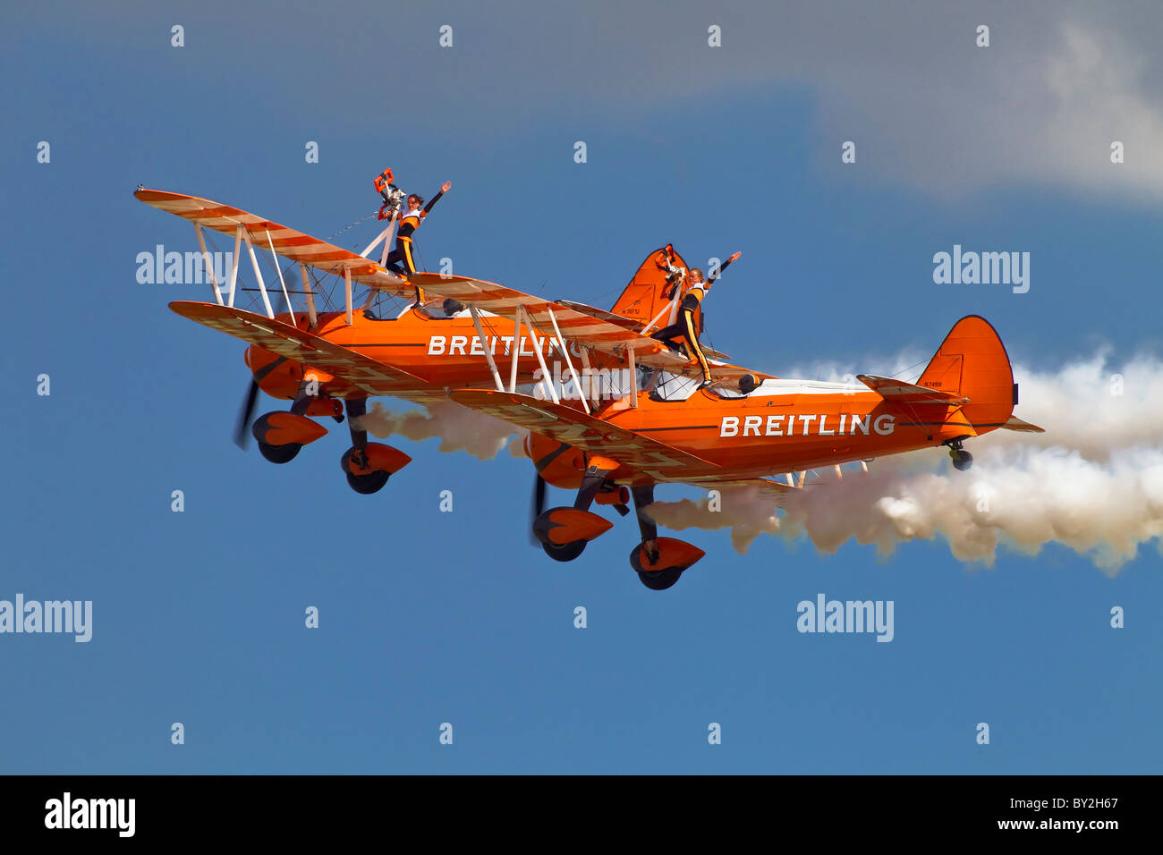2 Boeing PT17 Stearman's of the breitling wing walking aerobatic team - Stock Image