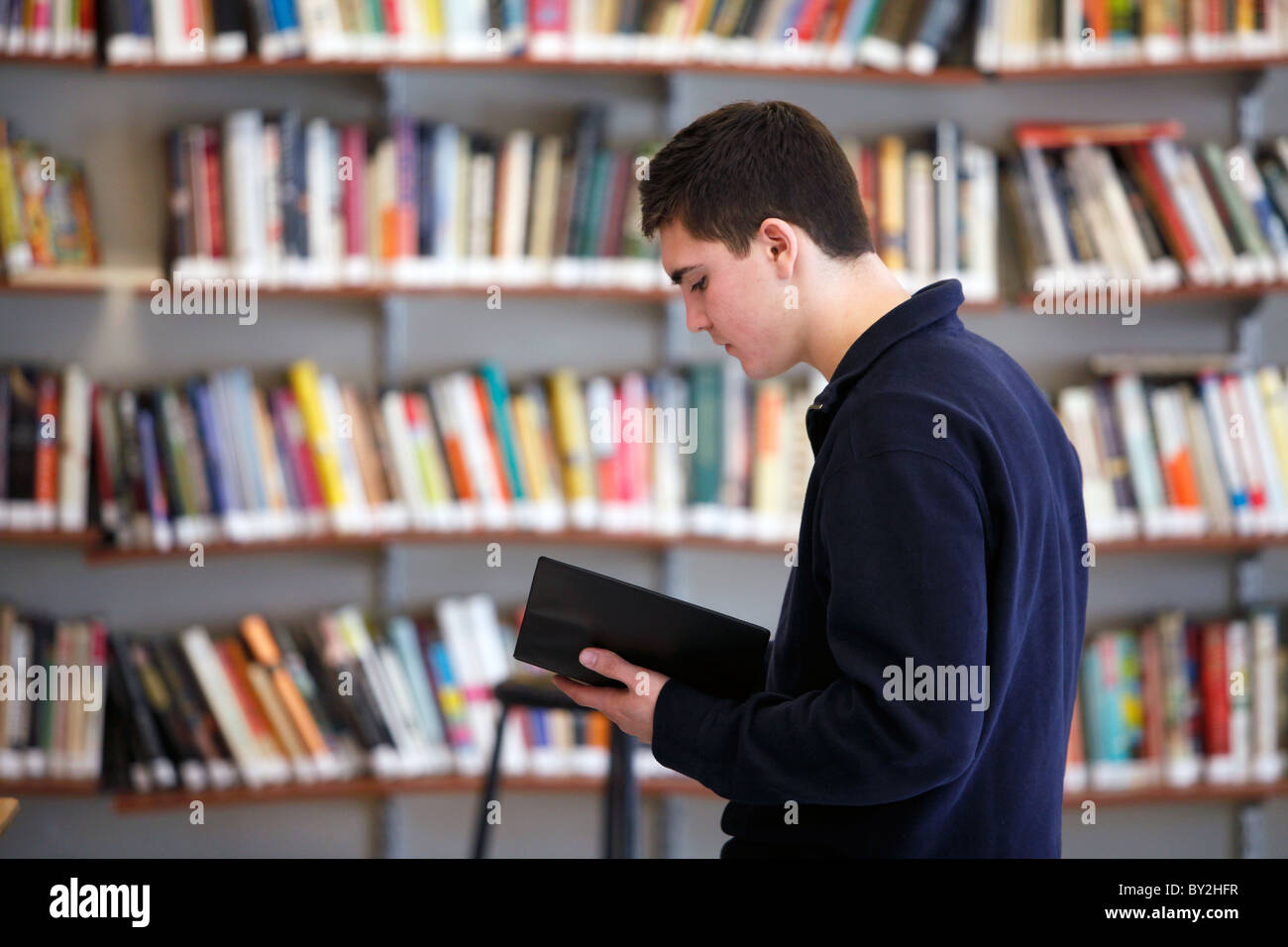 American high school student reading in front of bookshelves - Stock Image