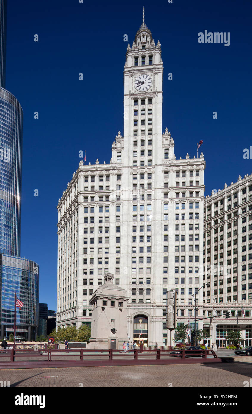 facade of the Wrigley Building, Chicago, illinois, USA - Stock Image