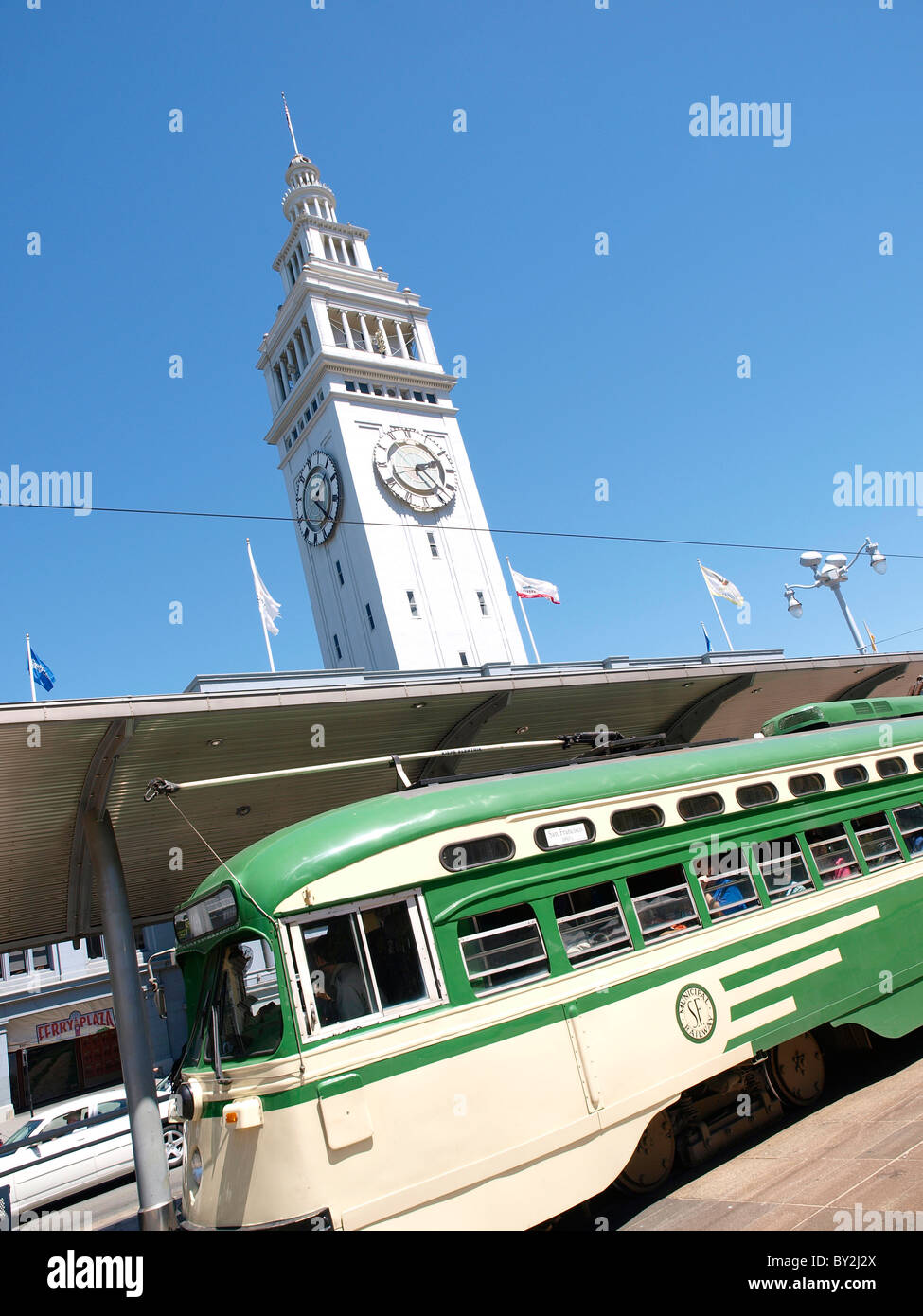 Street car at the Ferry Terminal San Francisco California USA - Stock Image