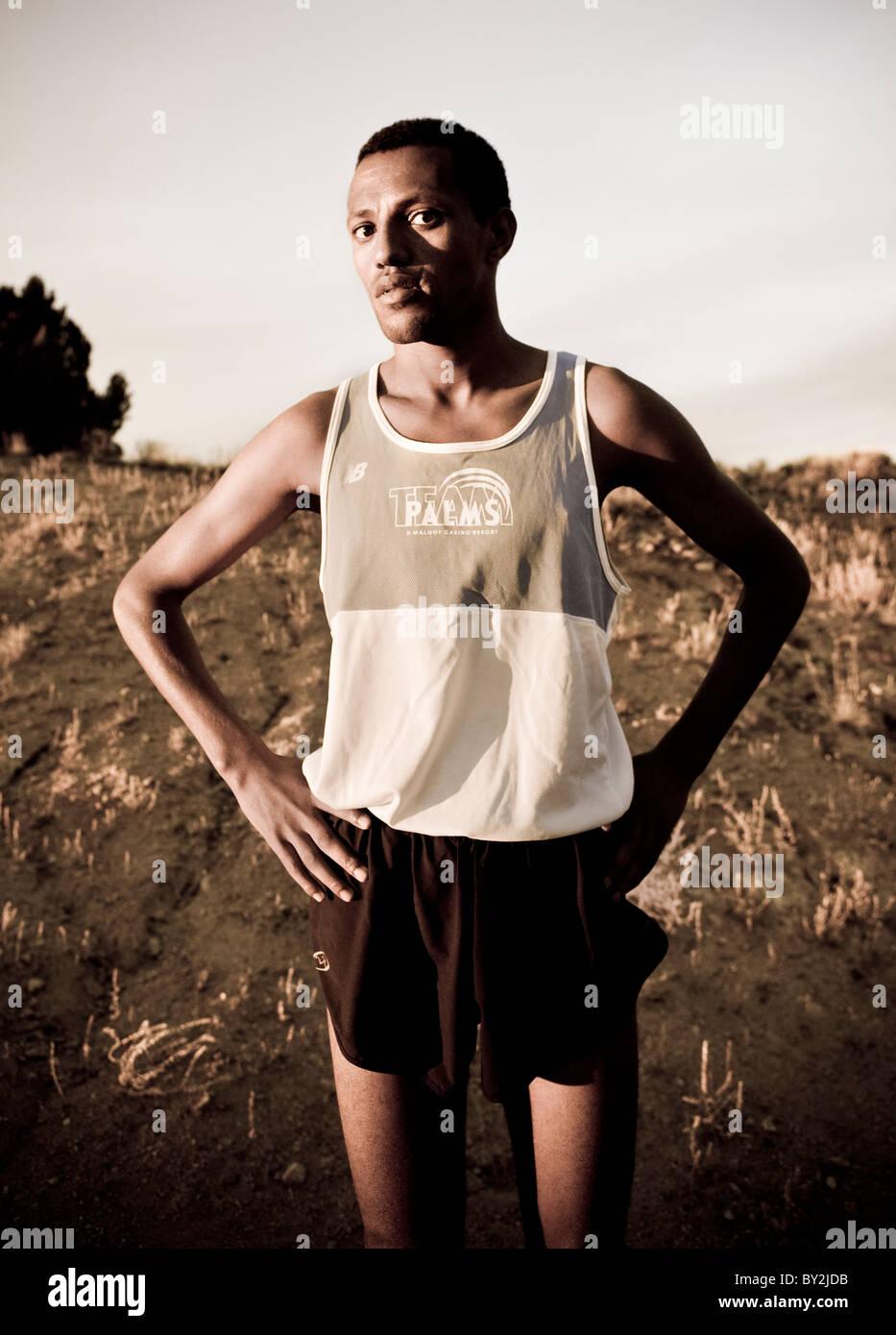 Portrait of a marathon runner - Stock Image