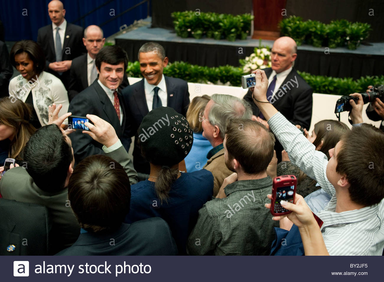 President Barack Obama greeting victims and victims familys after  the memorial event, Tucson Arizona - Stock Image