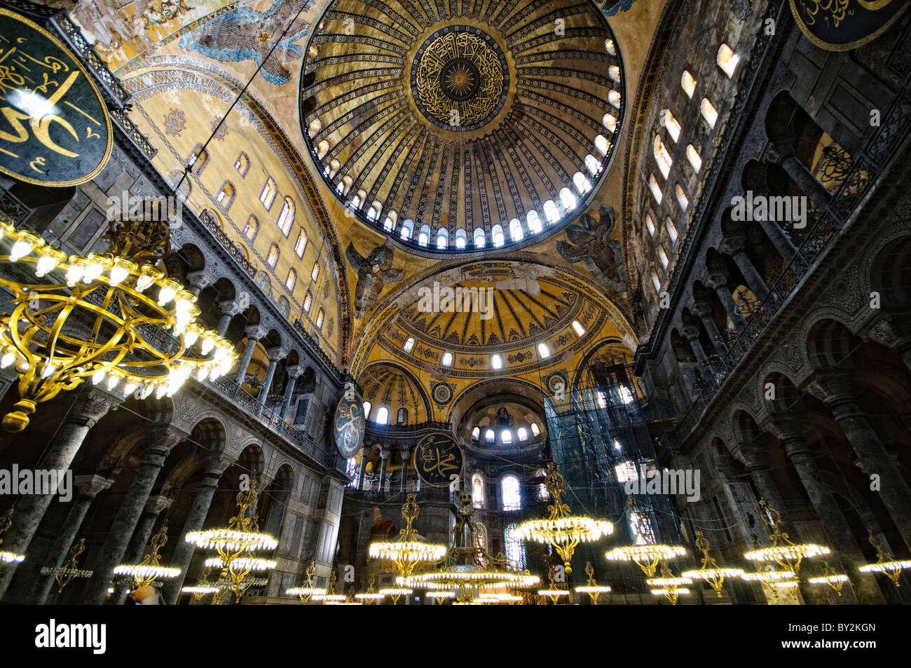 The main central dome and chandeliers in hagia sophia in istanbul the main central dome and chandeliers in hagia sophia in istanbul turkey originally built as a christian cathedral then converted to a muslim mosque in aloadofball Images