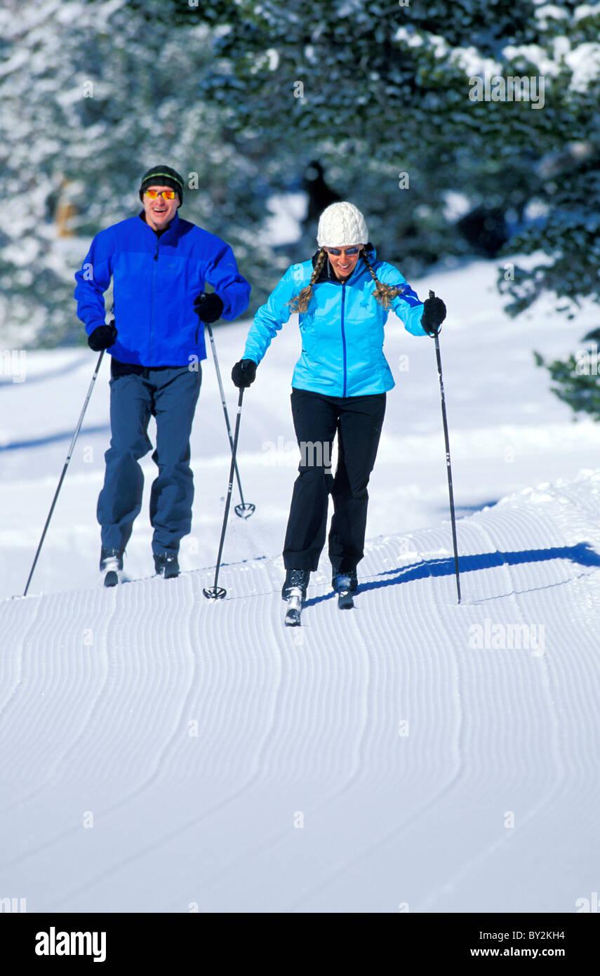 Cross-country skiing in Lake Tahoe. Stock Photo