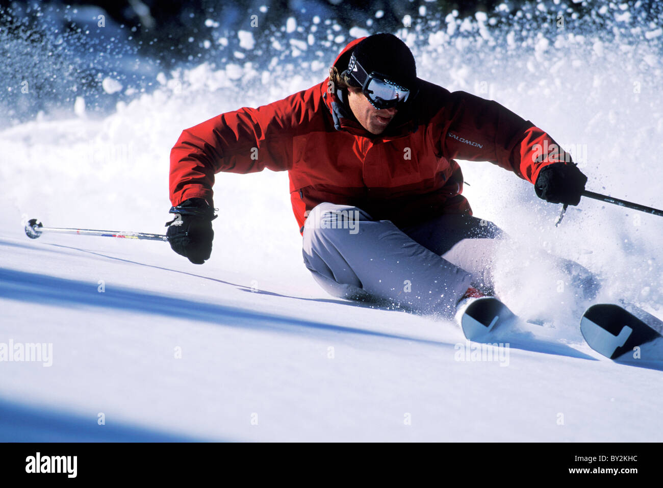 Skiing in Lake Tahoe. - Stock Image