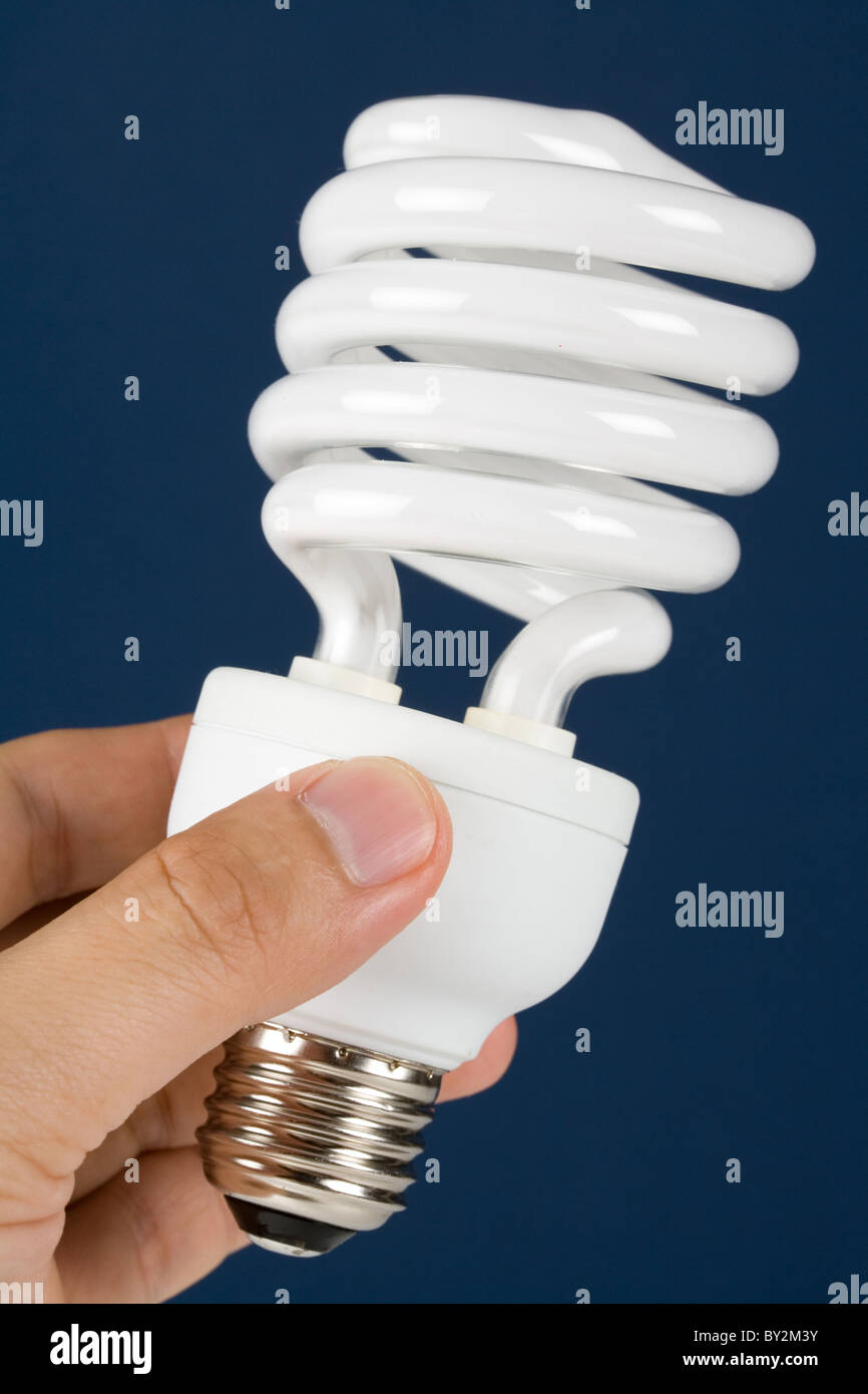 Compact Fluorescent Lightbulb clsoe up - Stock Image