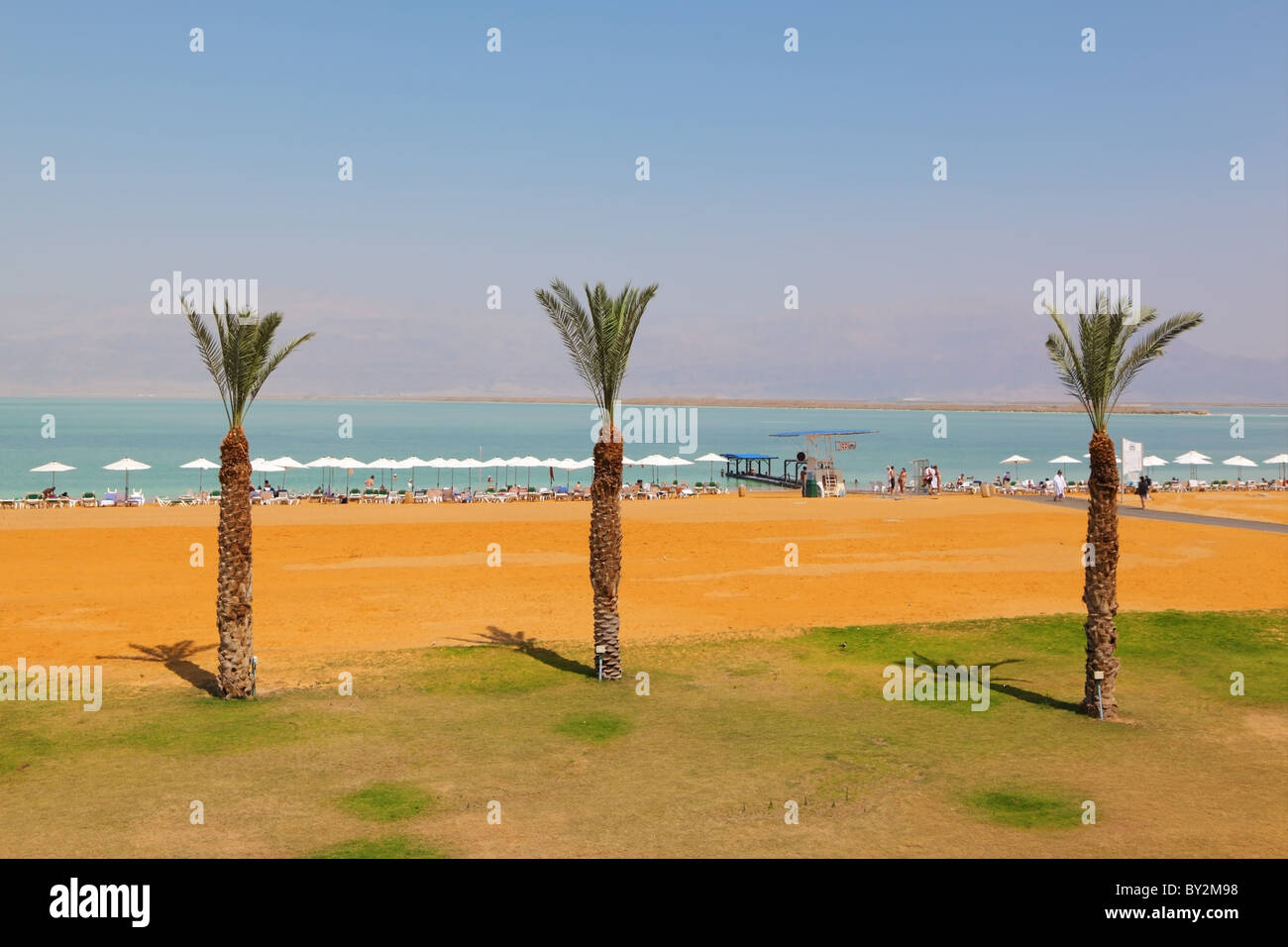 Medical beach luxury hotel at the Dead Sea in Israel. Sunny spring day - Stock Image