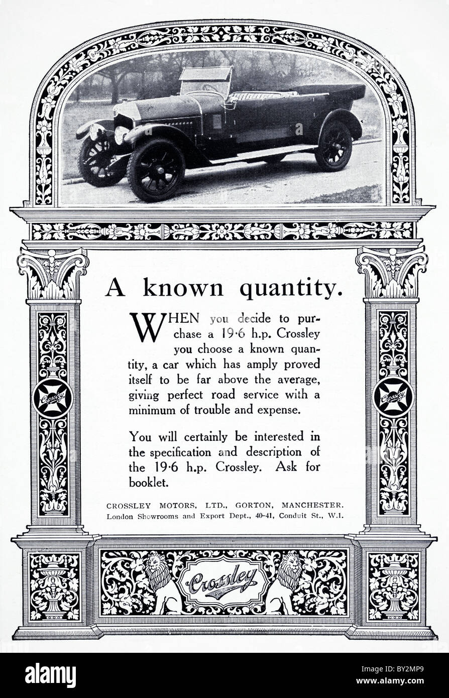 Original advert for Crossley Motors Ltd 19.6 h.p. car manufactued from 1921 to 1926 in Manchester England UK - Stock Image