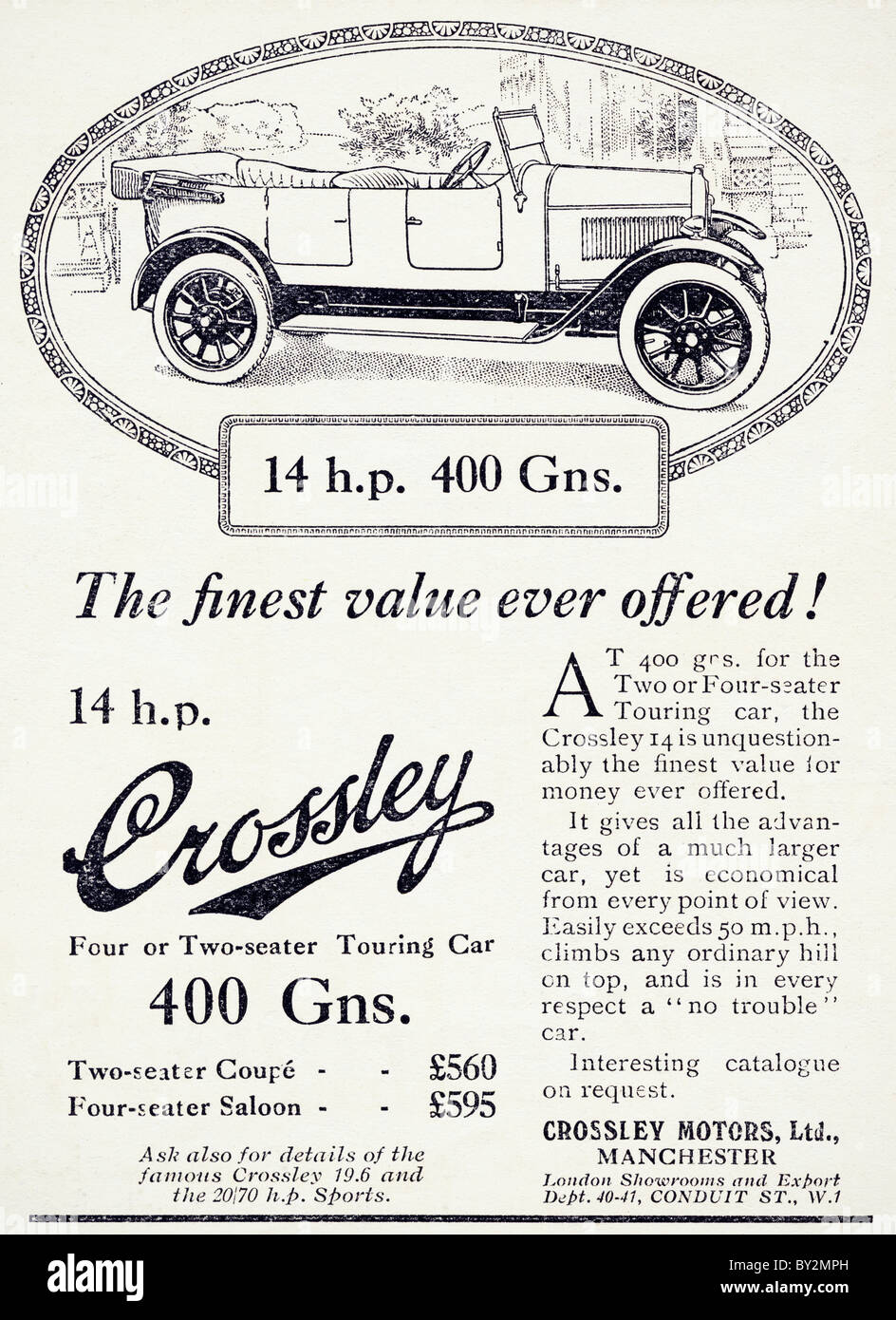 Original advert for Crossley Motors Ltd 14 h.p. car manufactued from 1922 to 1927 in Manchester England UK - Stock Image