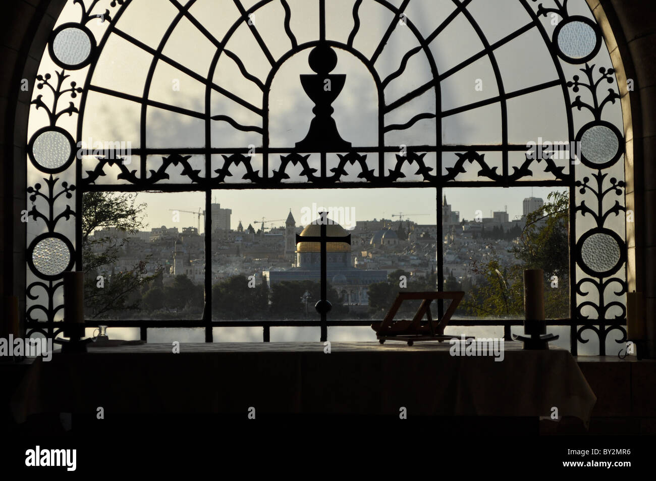 Jerusalem: the temple Mount seen from Olive's Mount - Stock Image