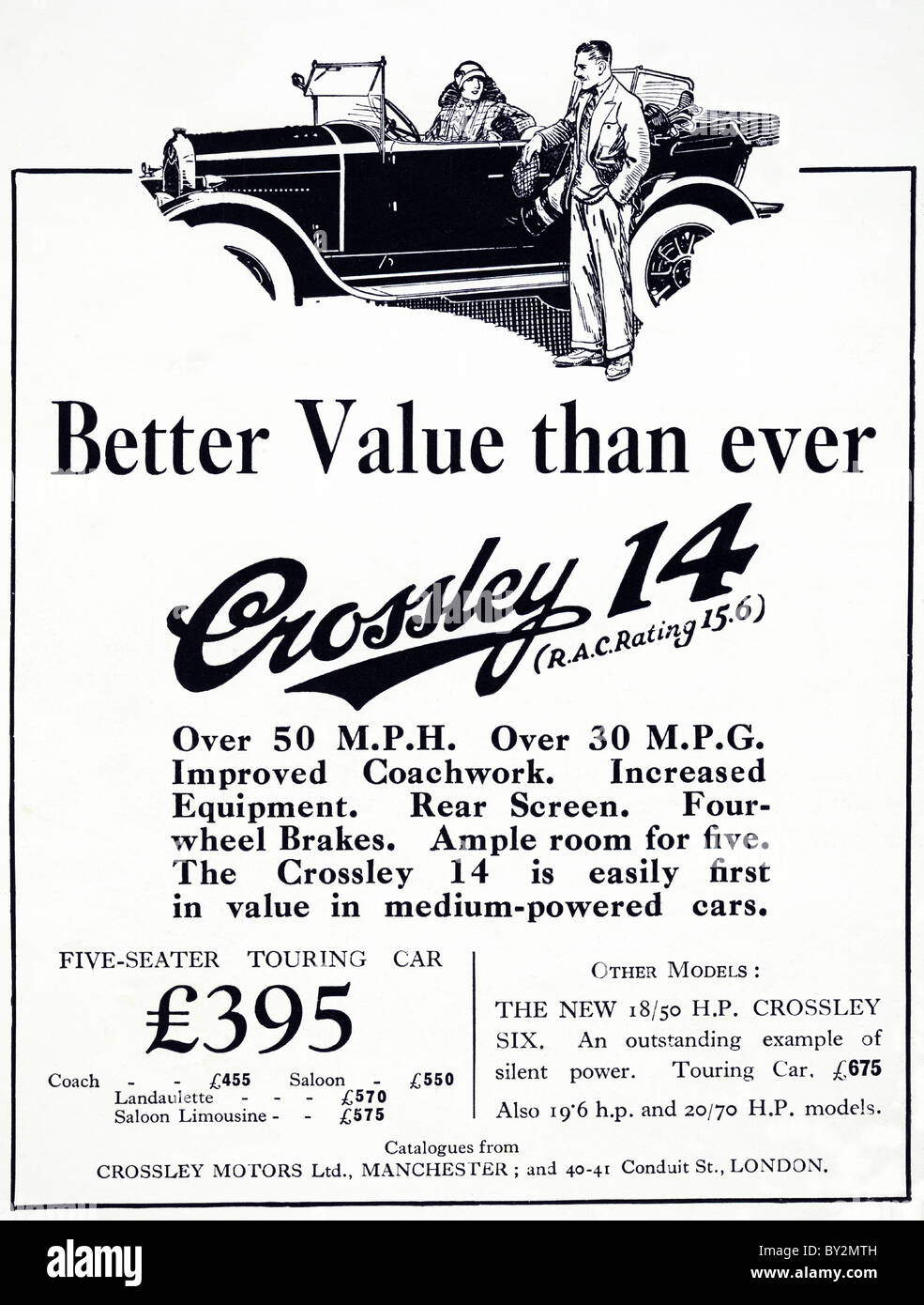 Original advert for Crossley Motors Ltd 14 car manufactued from 1922 to 1927 in Manchester England UK - Stock Image