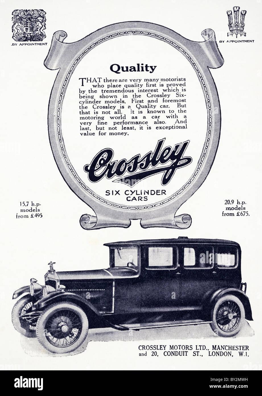 Original advert for Crossley Motors Ltd 15.7 & 20.9 h.p. cars Stock ...