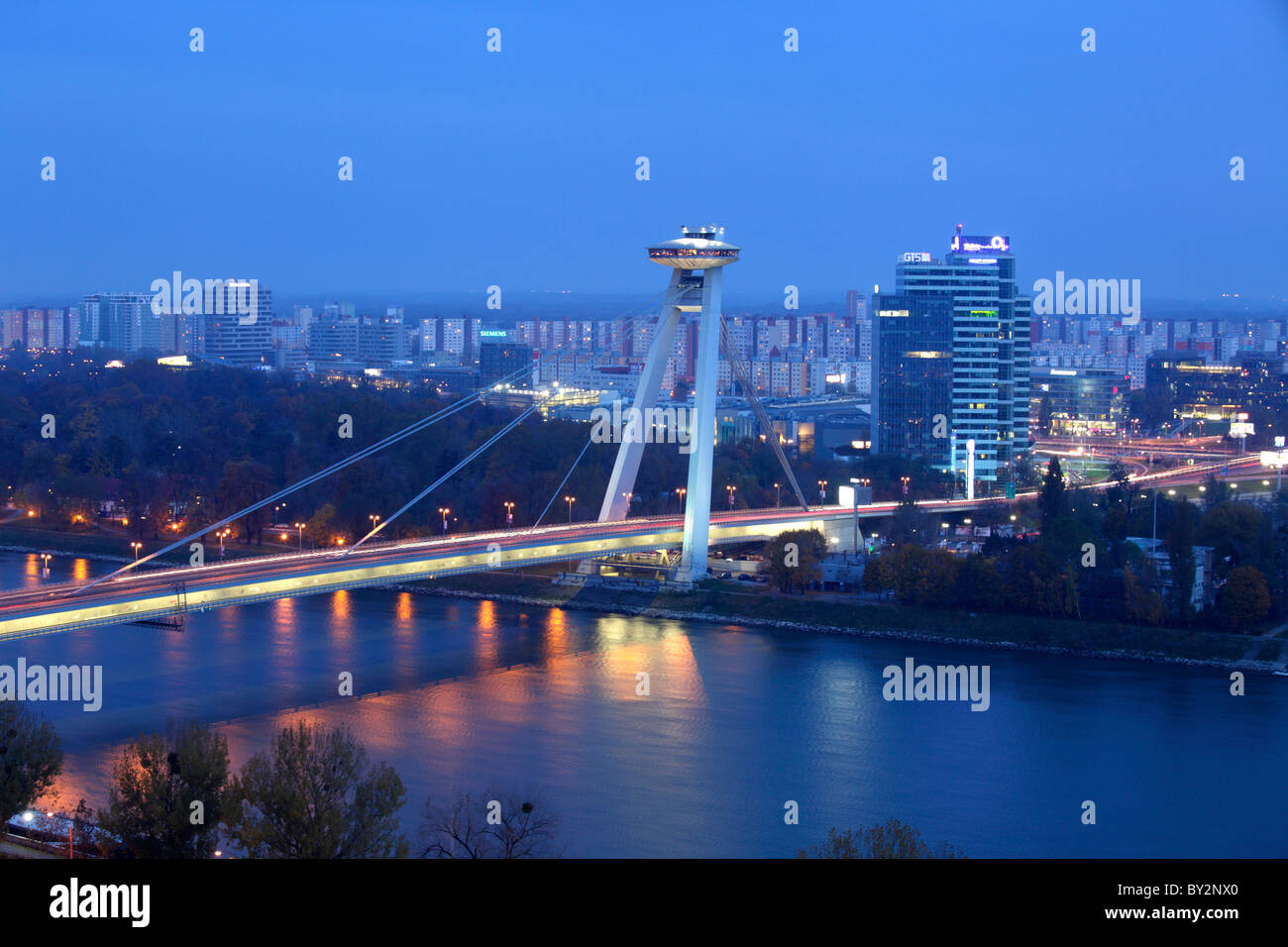 Novy Most bridge over the Danube river, Bratislava, Slovakia - Stock Image