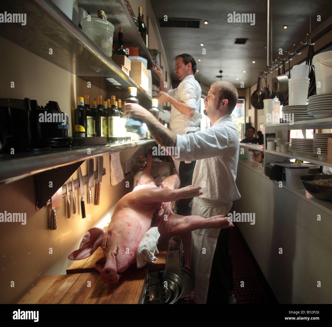 Whole Pig Butchered - Stock Image