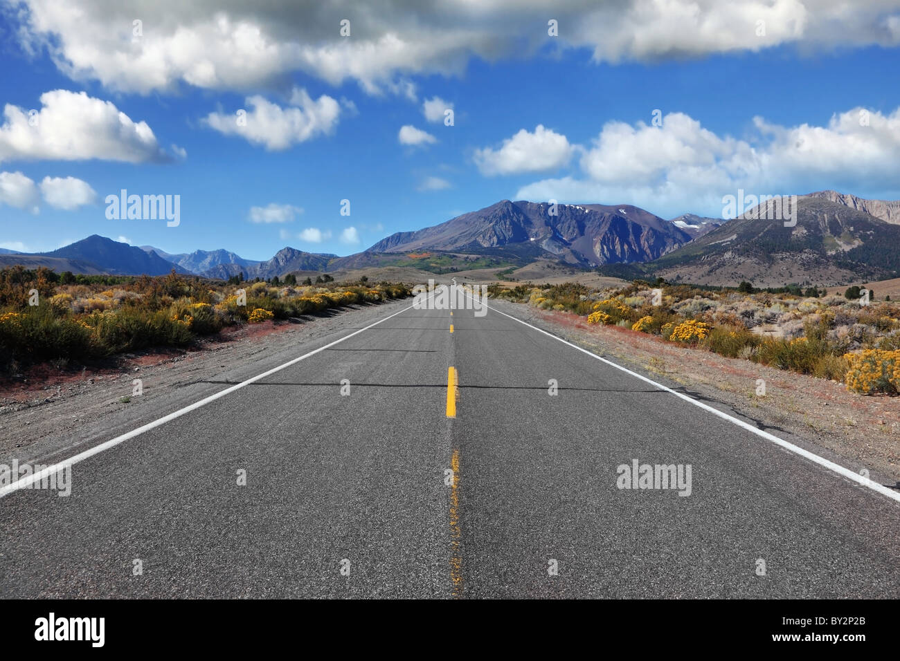 The road goes into the distance. Pride of the nation - a great American road goes through the beautiful desert to - Stock Image