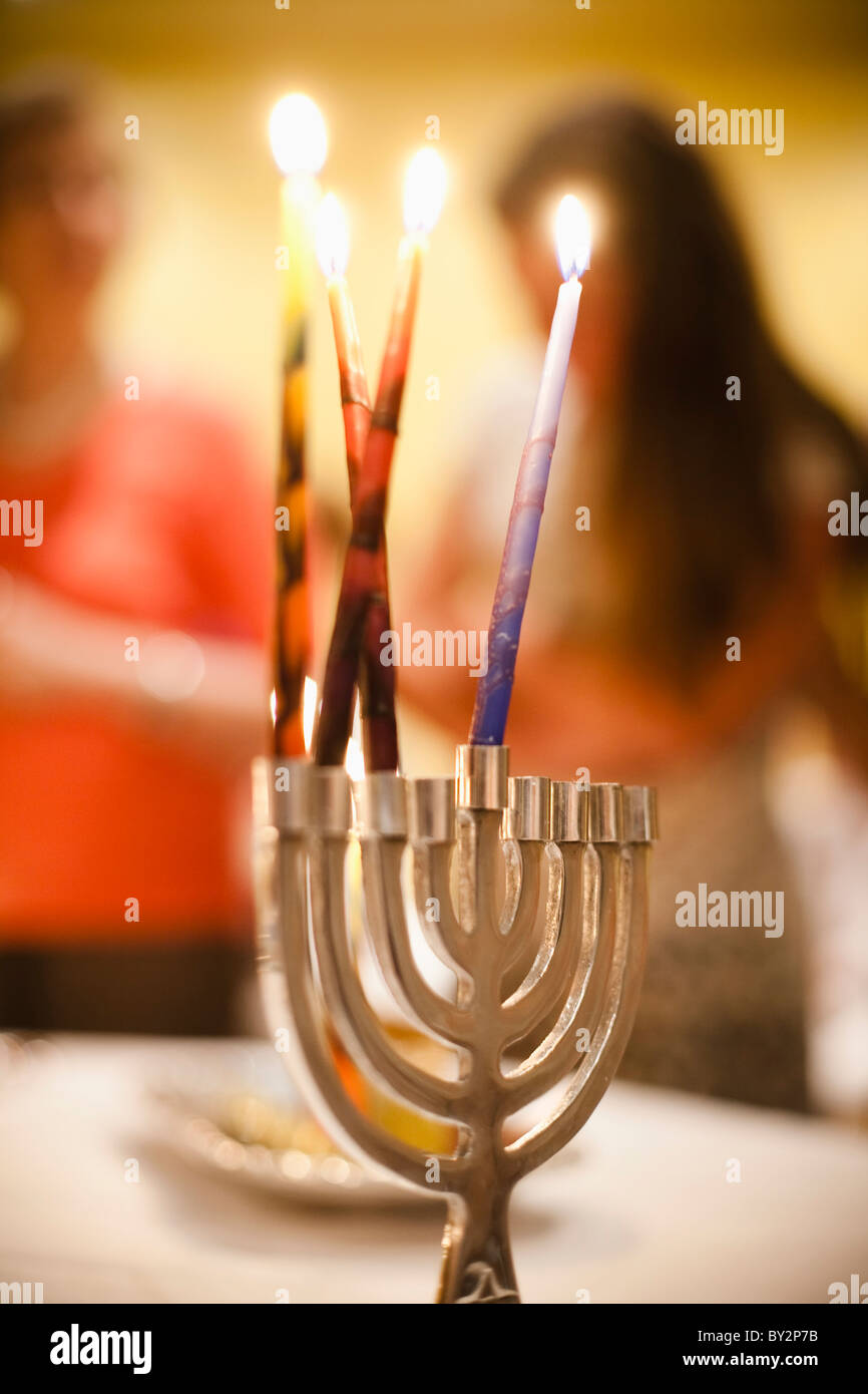a jewish candle holder (the Menorah) at chanukah celebration in Buenos Aires, Argentina - Stock Image