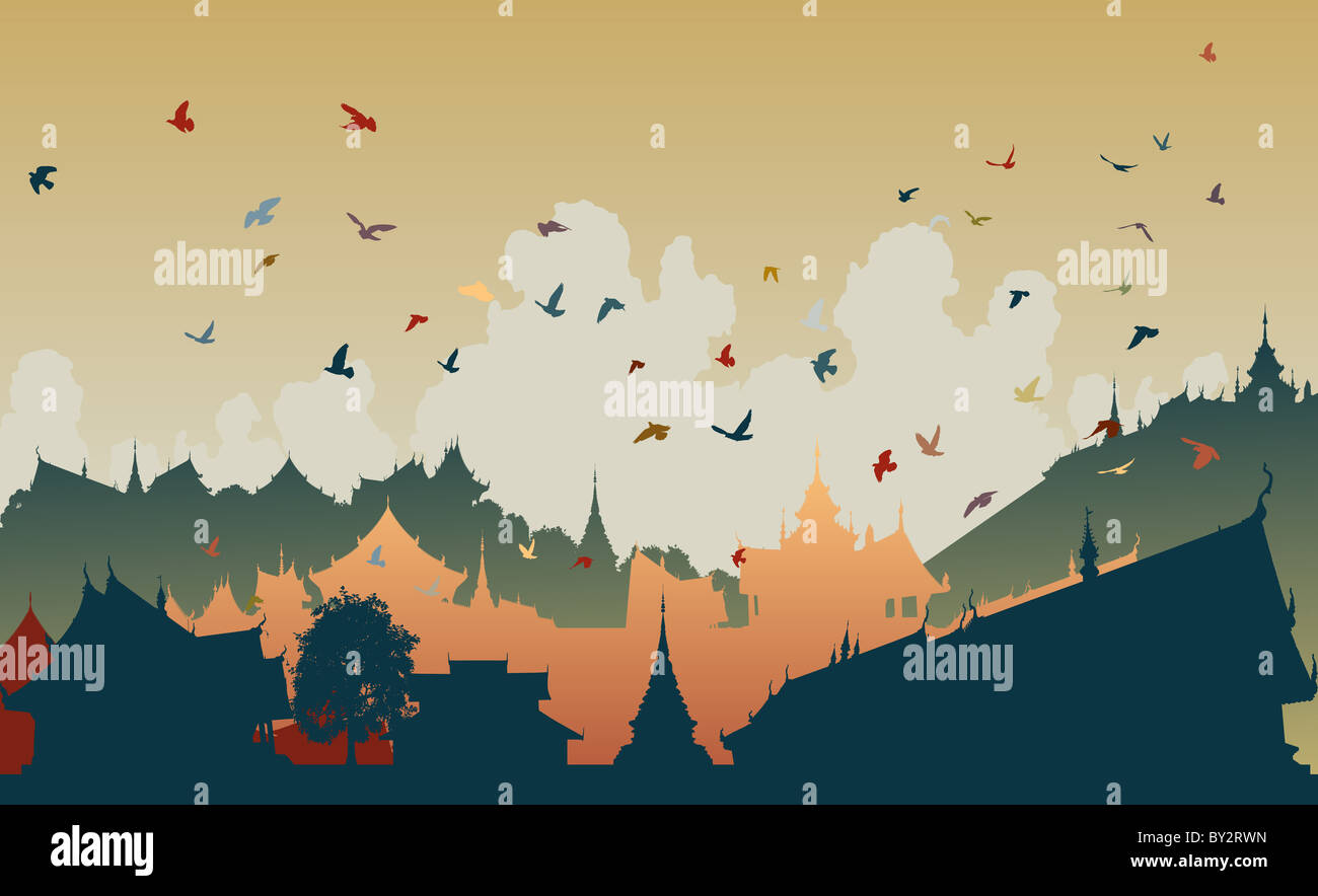 Colorful illustration of birds over a generic east asian city Stock Photo