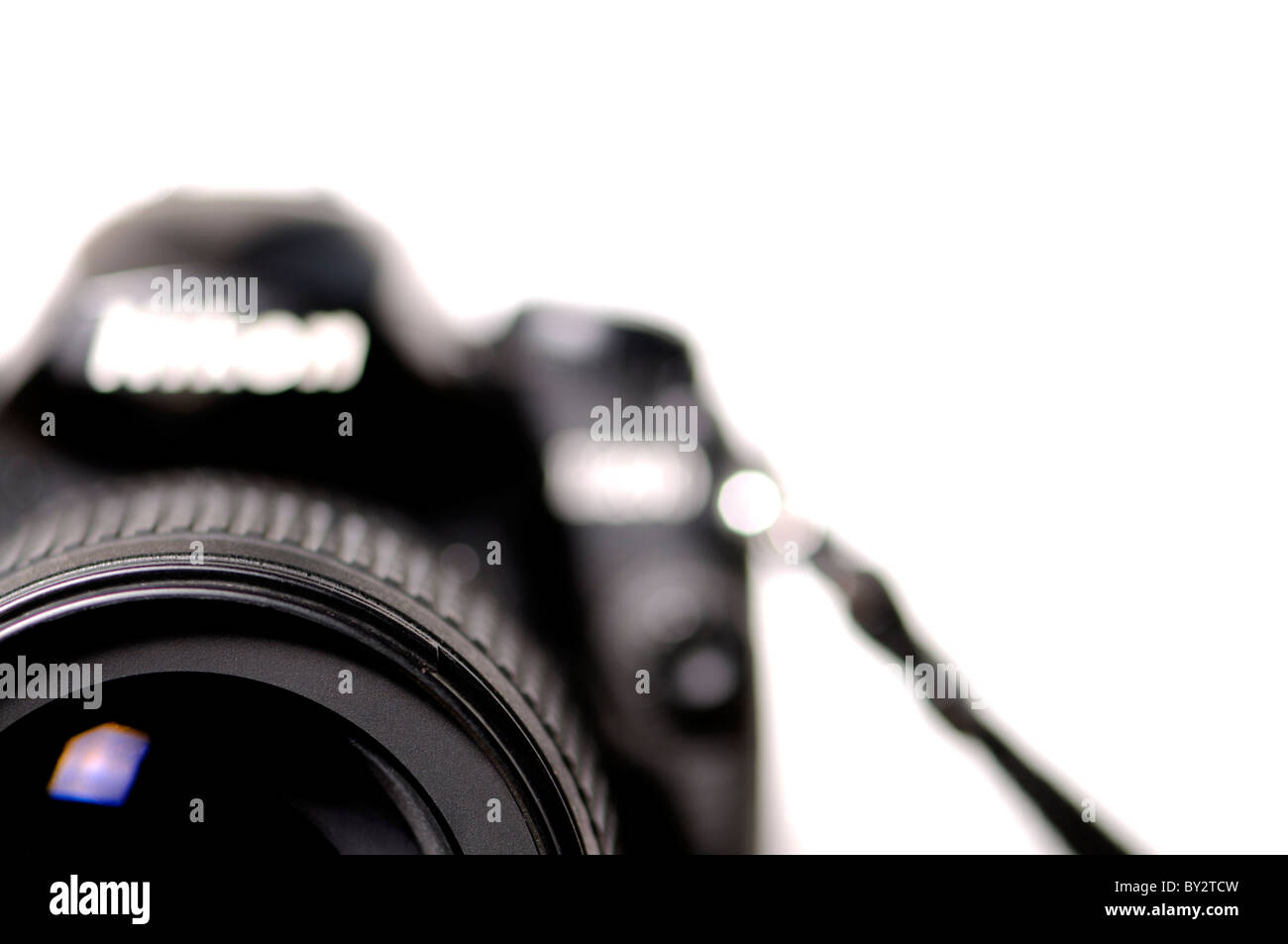 Camera (Nikon D200) out of focus, except for front of lens - Stock Image