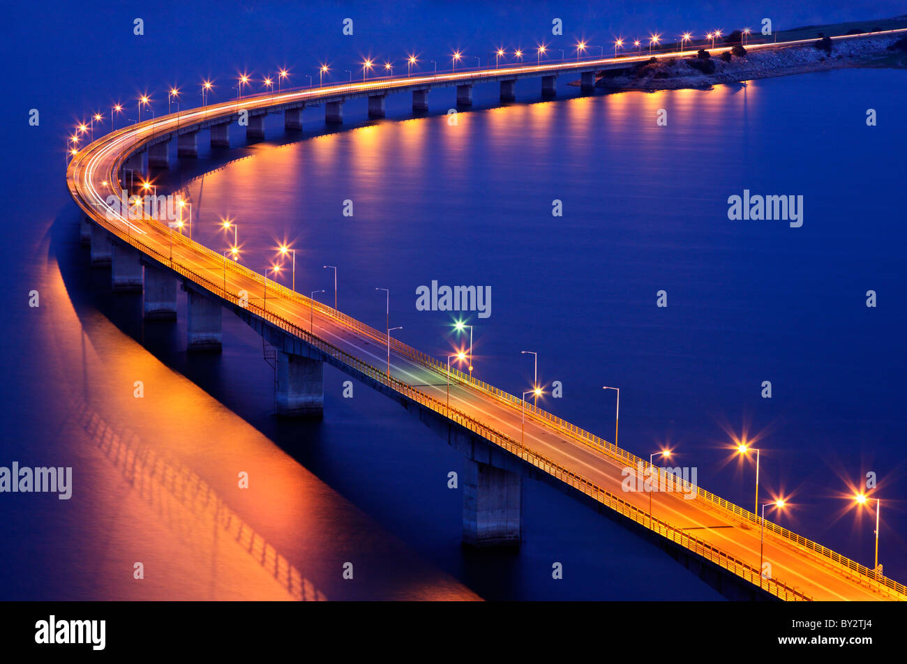 This is the Servia bridge over Polyfytou Lake, close to the small town of Servia in Kozani Prefecture, Macedonia, - Stock Image