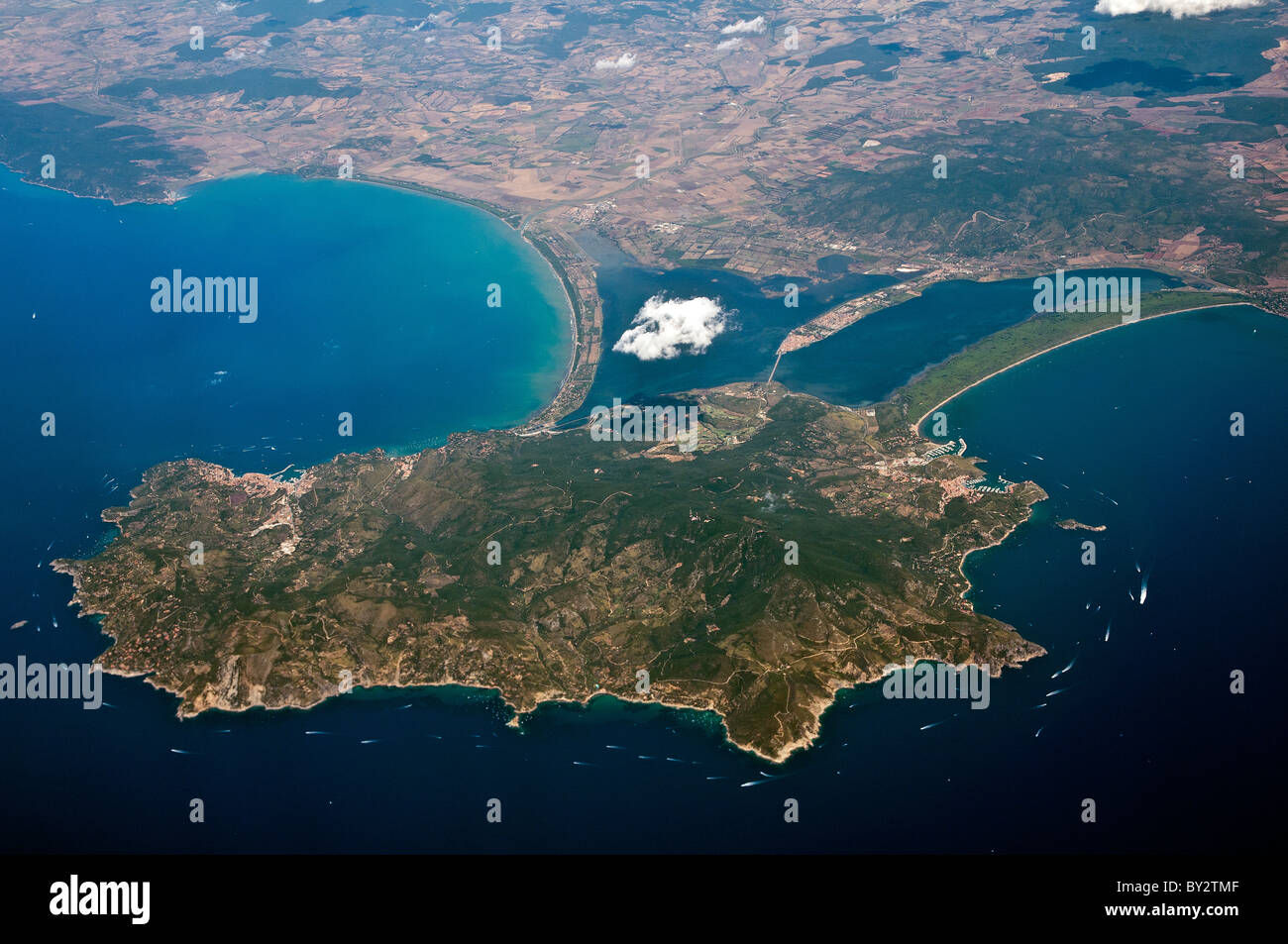 Aerial view of Mount Argentario peninsula joined to the Tuscany's coast by way of three thin strips of land, - Stock Image