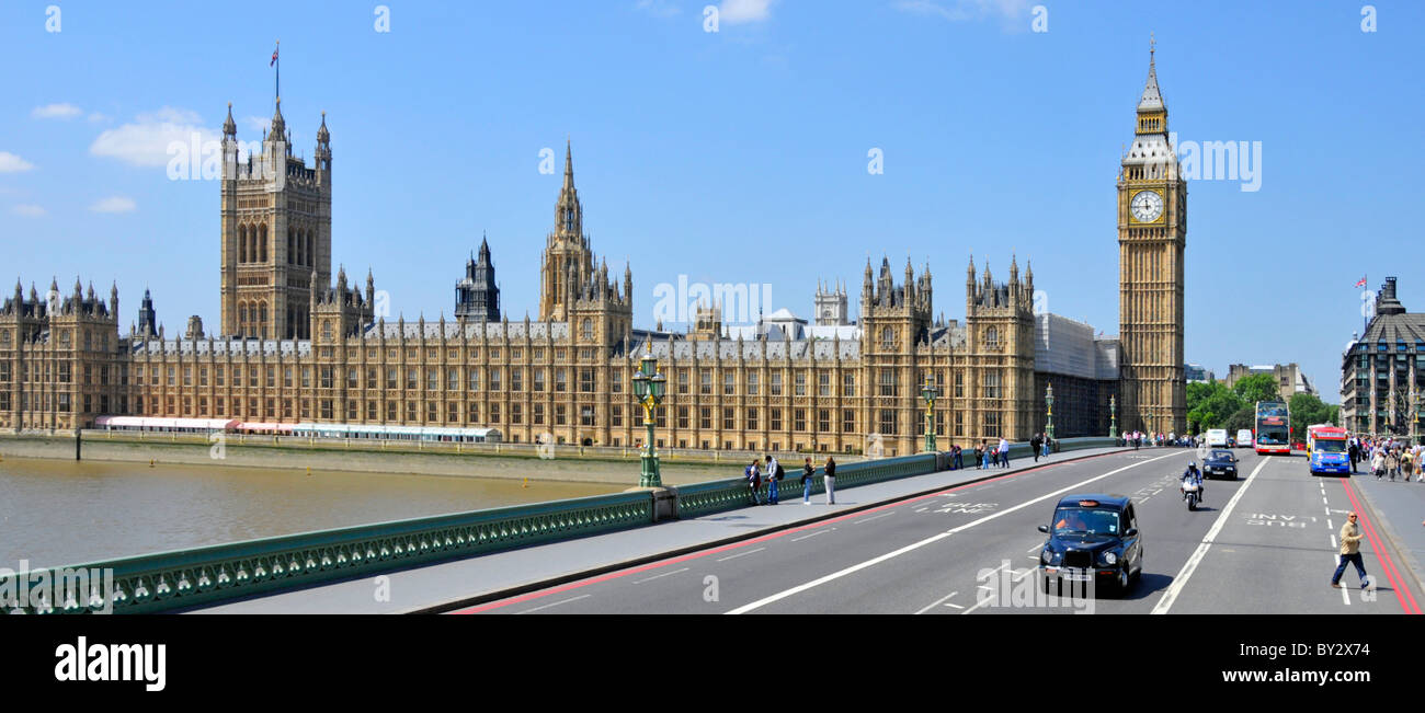 Houses of Parliament, Big Ben and Westminster Bridge - Stock Image