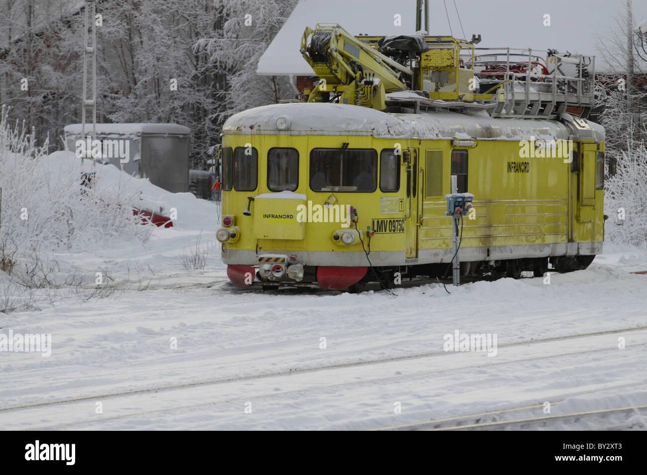 Railway maintenance vehicle in northern Sweden - Stock Image