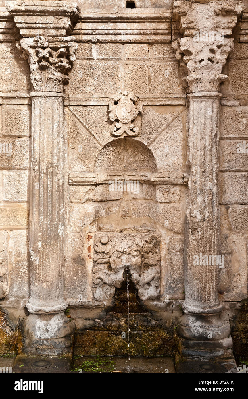 Detail of the Rimondi fountain, a Venetian survival in Rethymno's backstreets, Rethymno, Crete, Greece Stock Photo