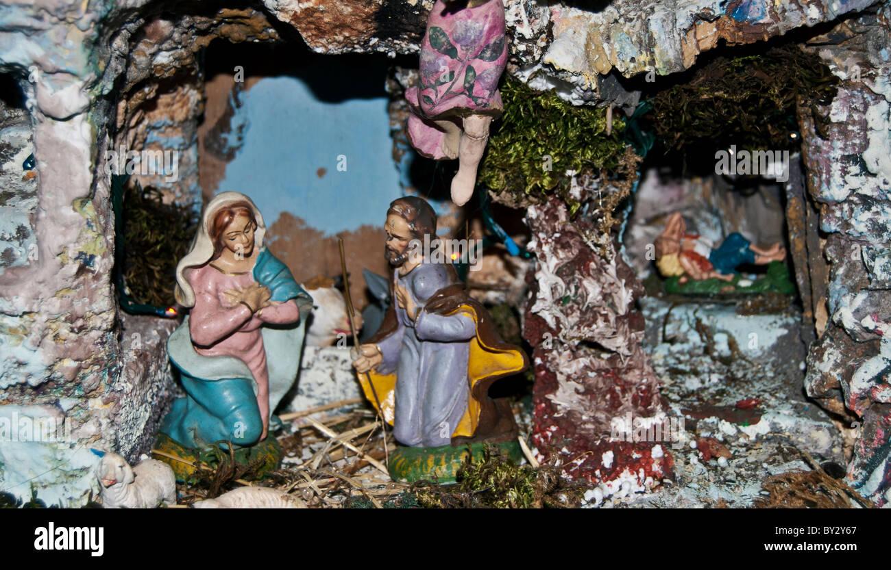 Neapolitan Nativity Scene - Stock Image