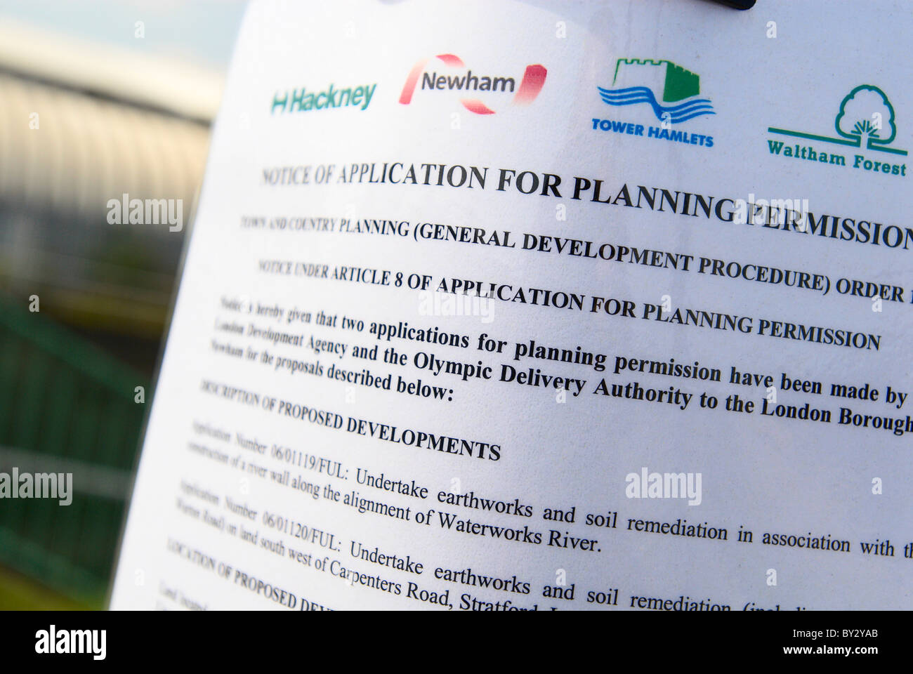 Notice of Application for Planning Permission at Olympic site East London UK - Stock Image