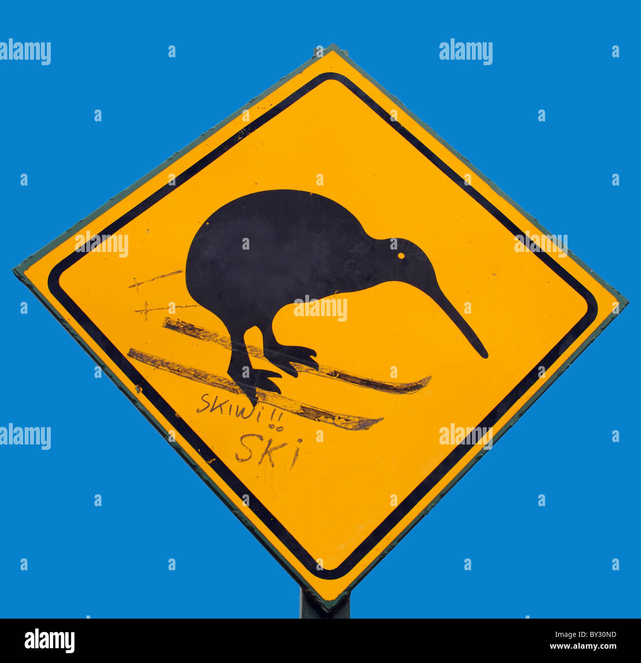 A skiwi,  a road sign for a kiwi altered to show the kiwi ski-ing in new zealand - Stock Image