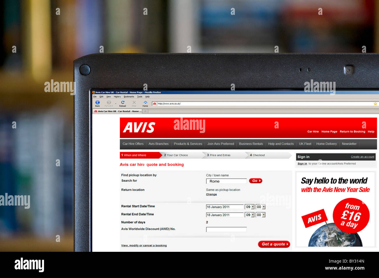 Booking A Car Online With Avis Uk Stock Photo 33872853 Alamy