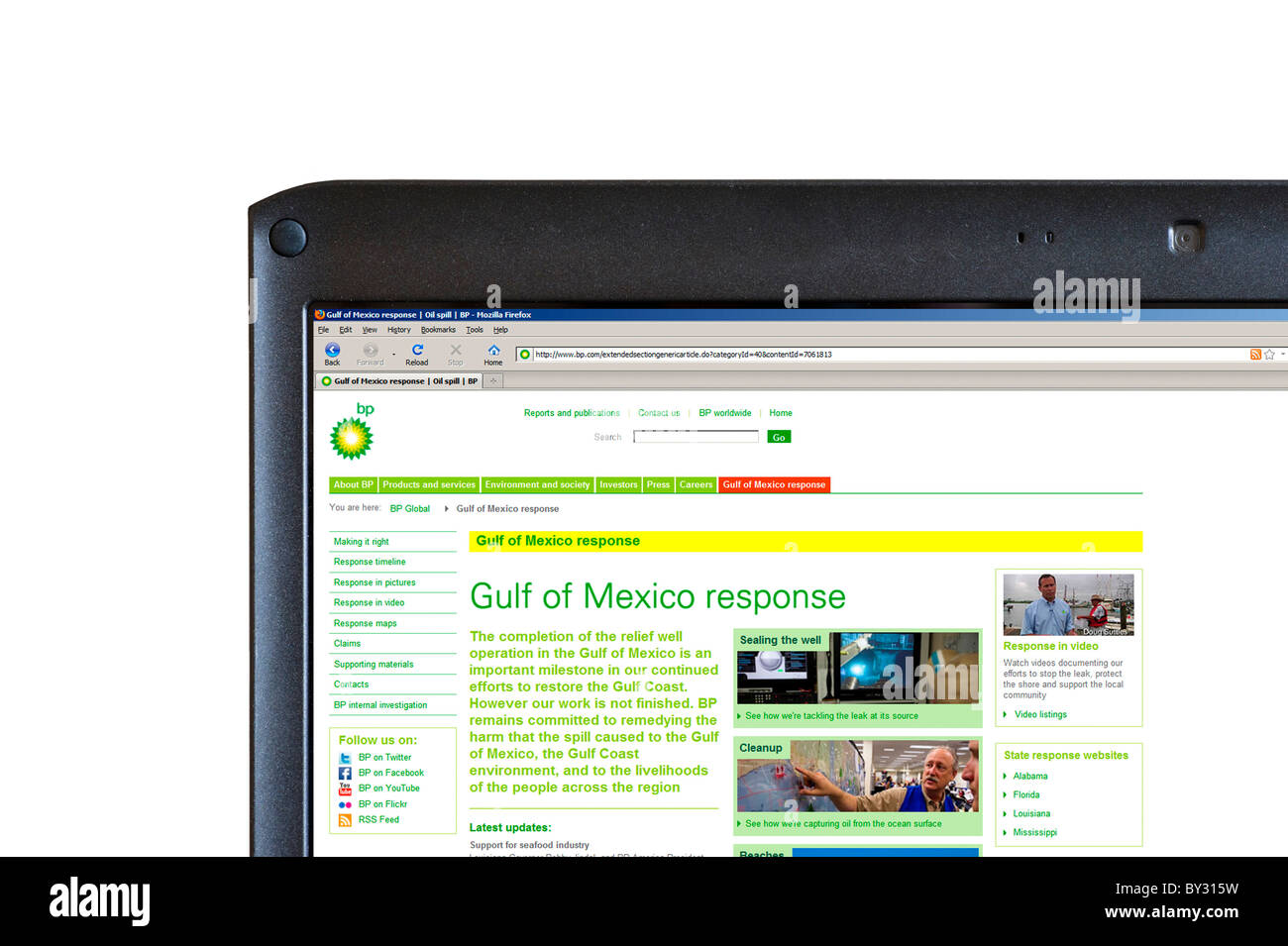 The BP website outlining the response to the Gulf of Mexico Oil Spill in 2010, UK - Stock Image